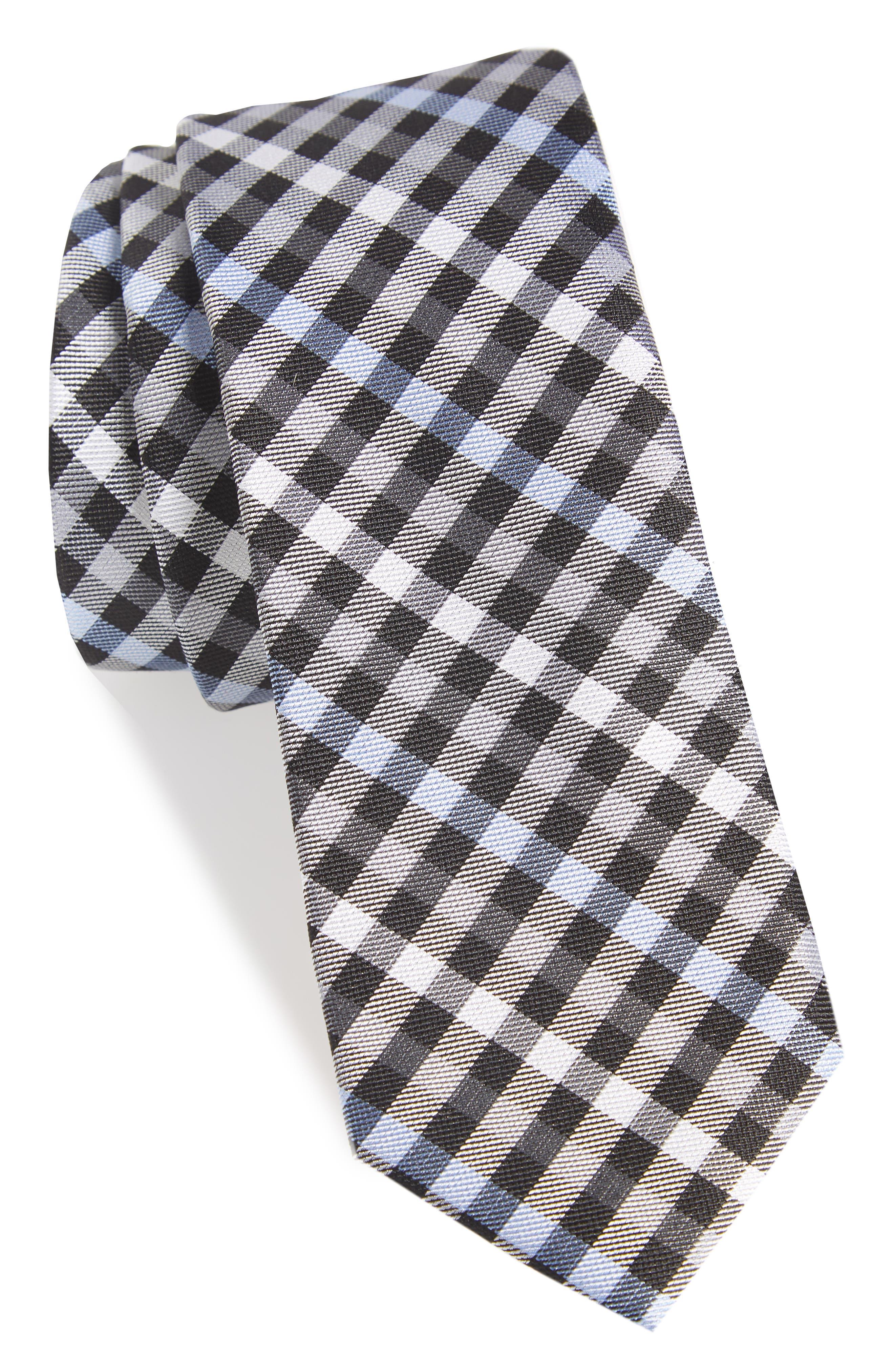 Wynant Check Skinny Silk Tie,                         Main,                         color, 001