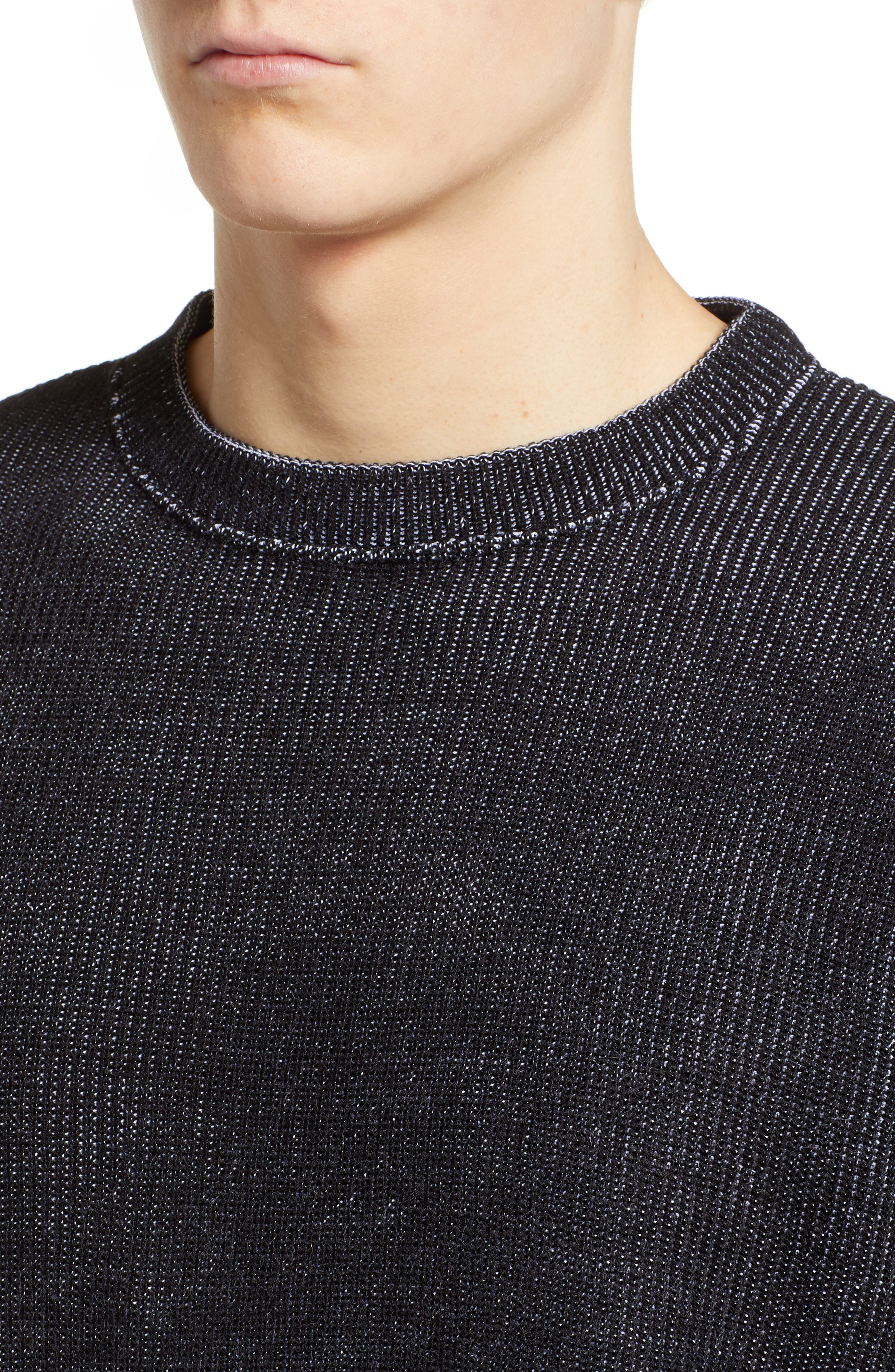 Plaited Crewneck Sweater,                             Alternate thumbnail 4, color,                             BLACK