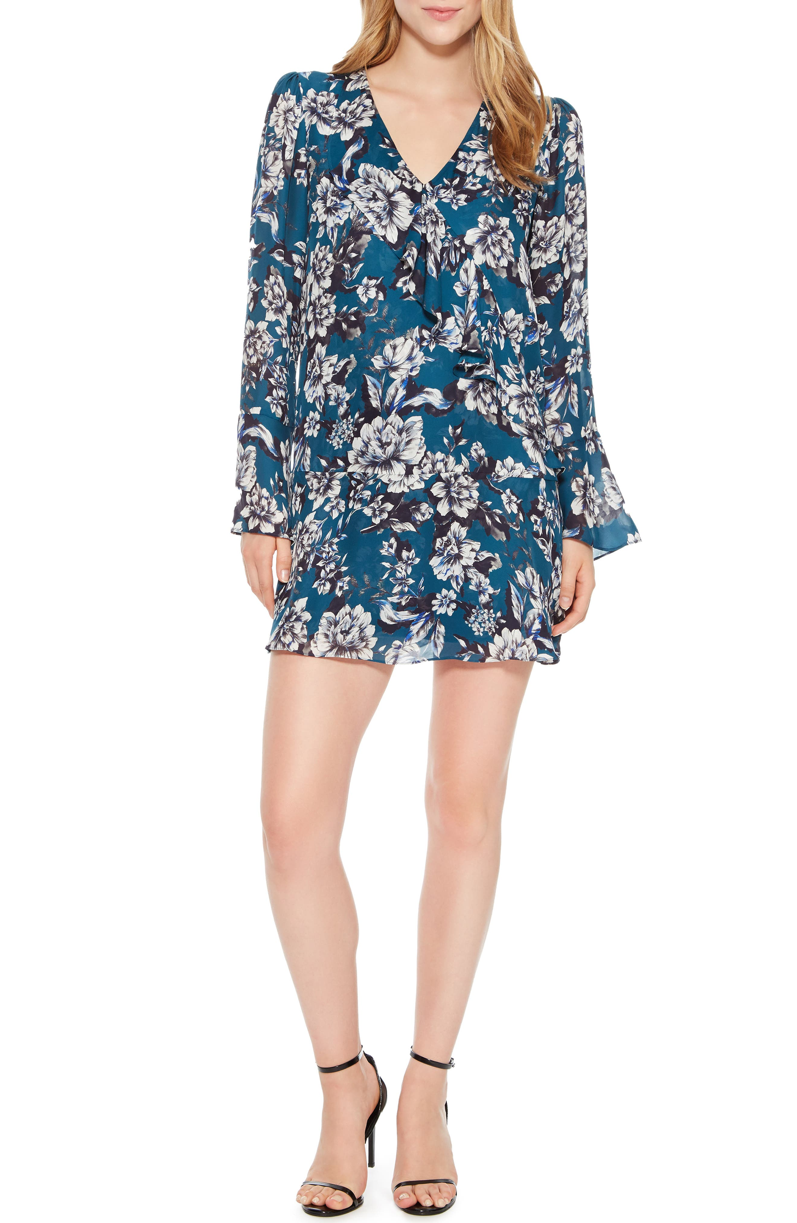 Skylar Floral Print Dress,                             Main thumbnail 1, color,                             EVERGLADE GARDENS