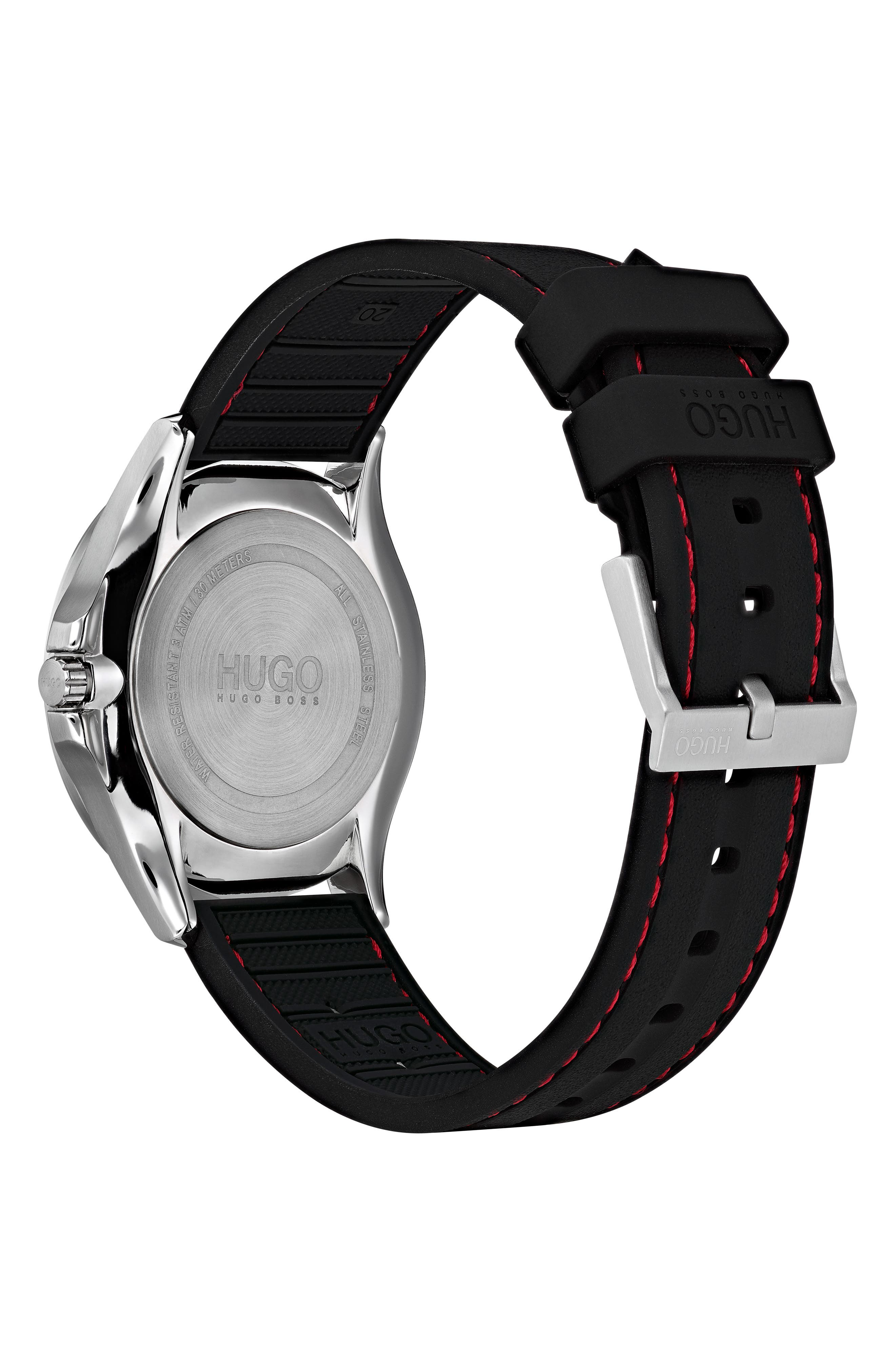 Silicone Strap Watch, 41mm,                             Alternate thumbnail 2, color,                             BLACK