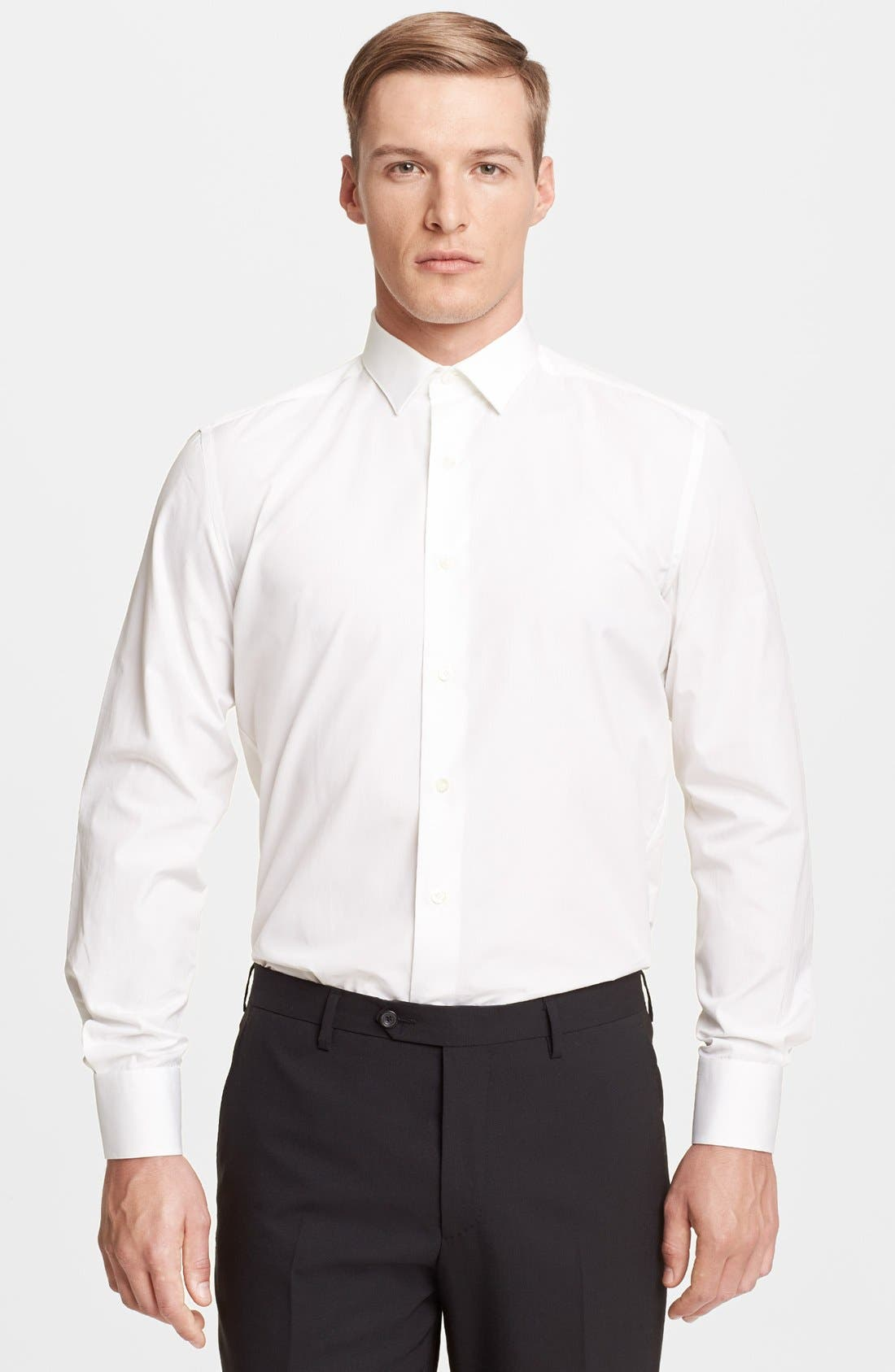 Slim Fit Poplin Dress Shirt,                             Main thumbnail 1, color,                             100