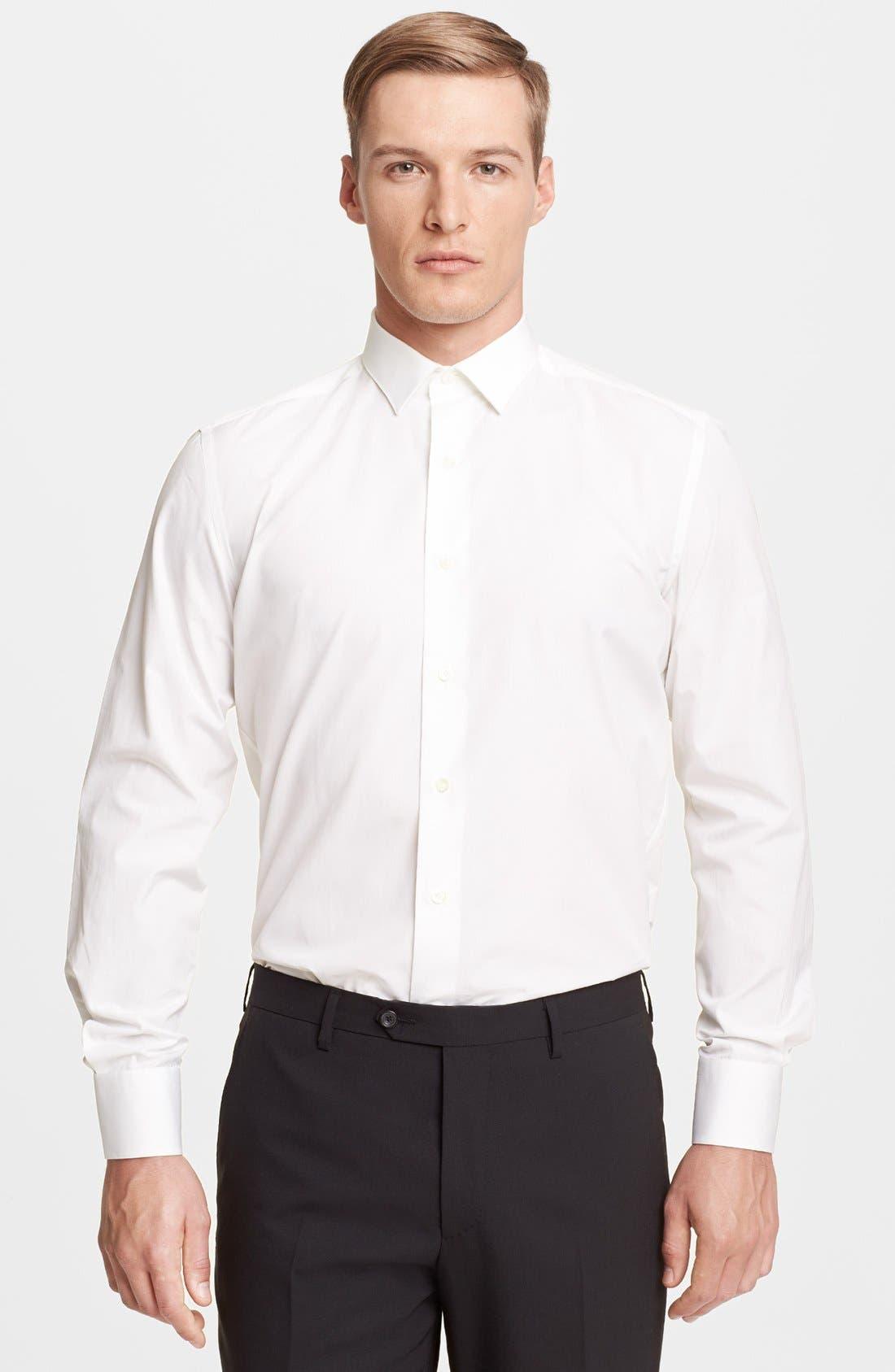 Slim Fit Poplin Dress Shirt,                         Main,                         color, 100