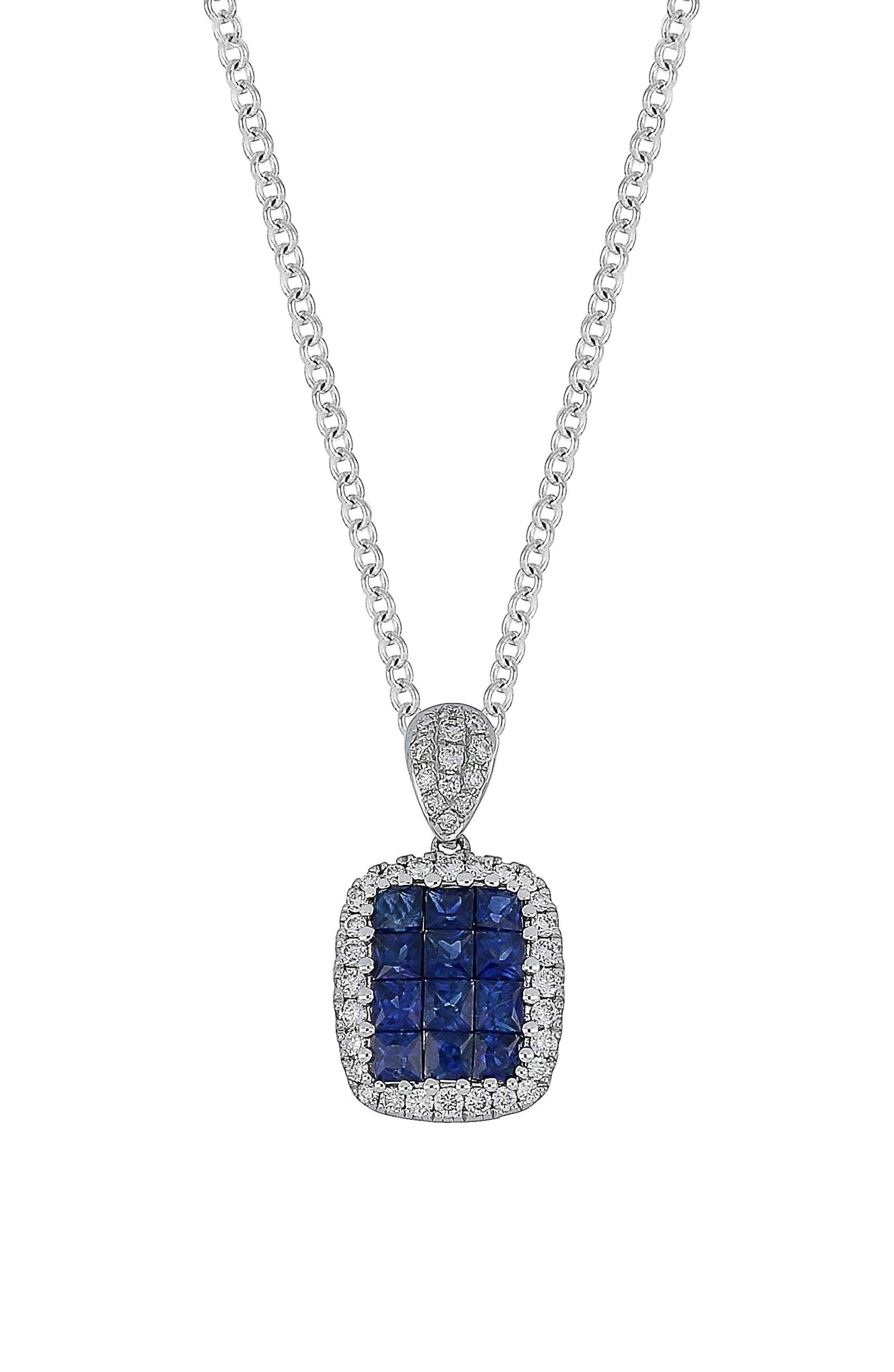 Sapphire & Diamond Pendant Necklace,                             Main thumbnail 1, color,