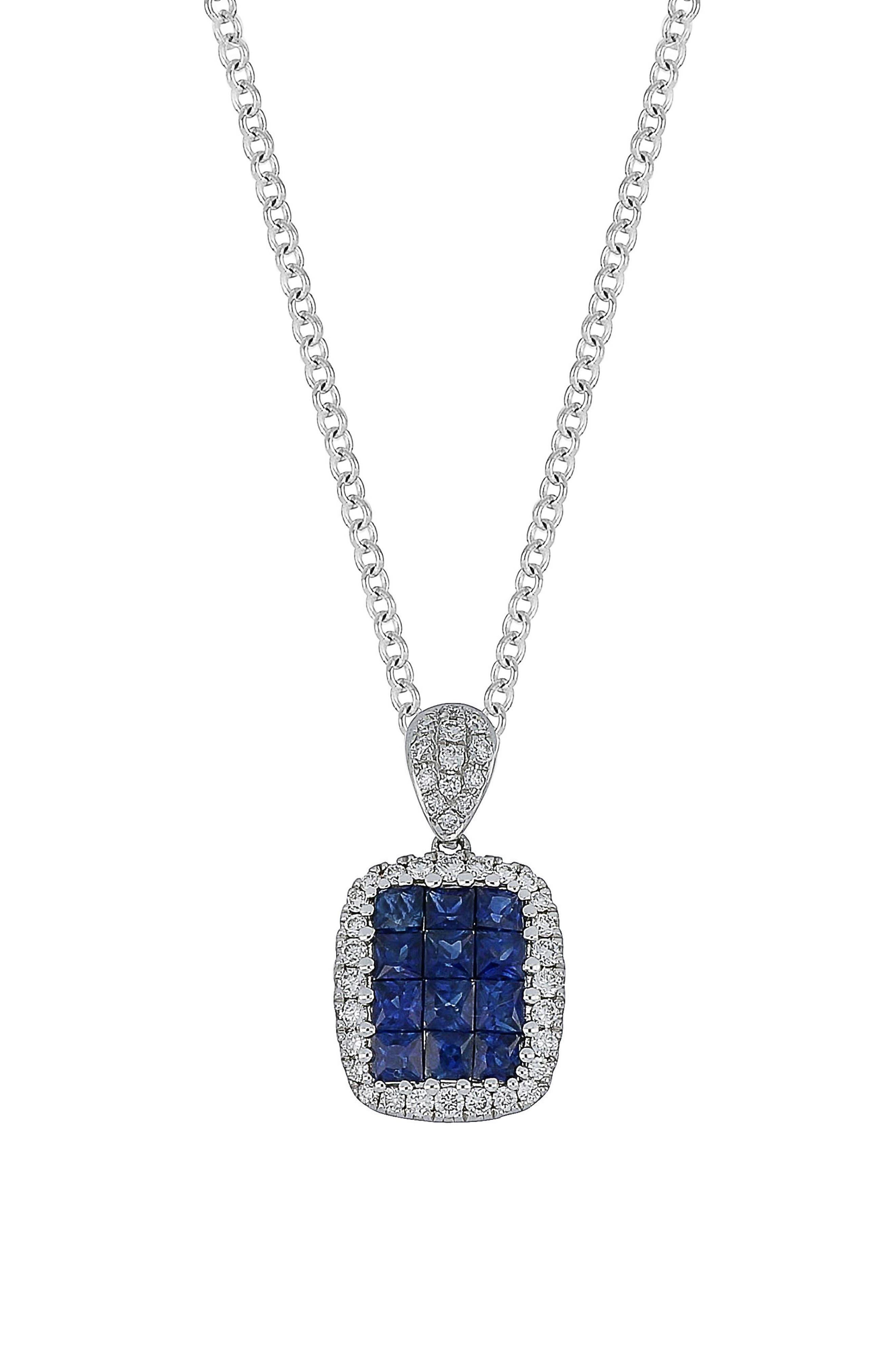 Sapphire & Diamond Pendant Necklace,                         Main,                         color, 711