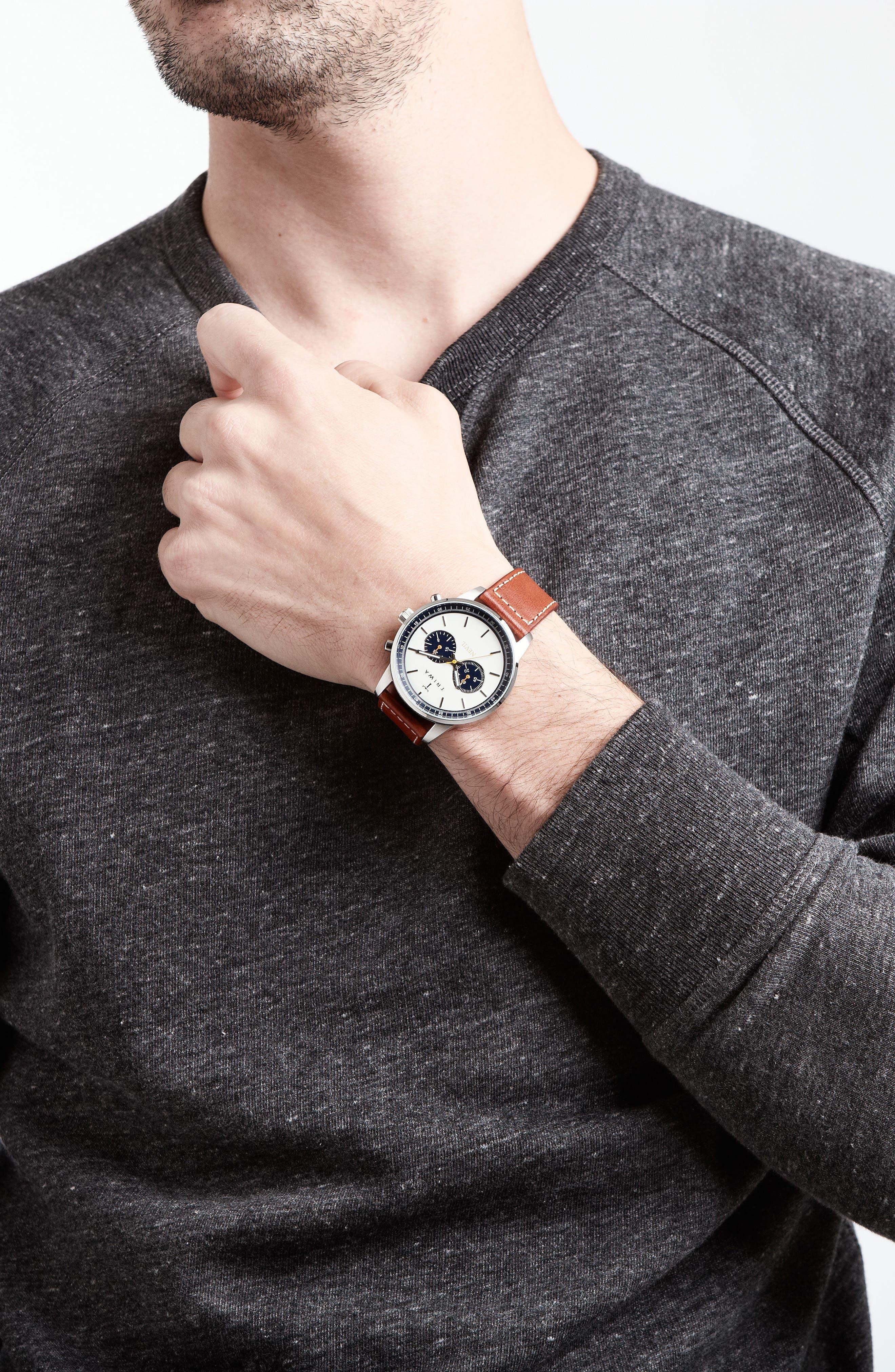 Ocean Nevil Chronograph Leather Strap Watch, 42mm,                             Alternate thumbnail 4, color,                             TAN/ WHITE/ SILVER
