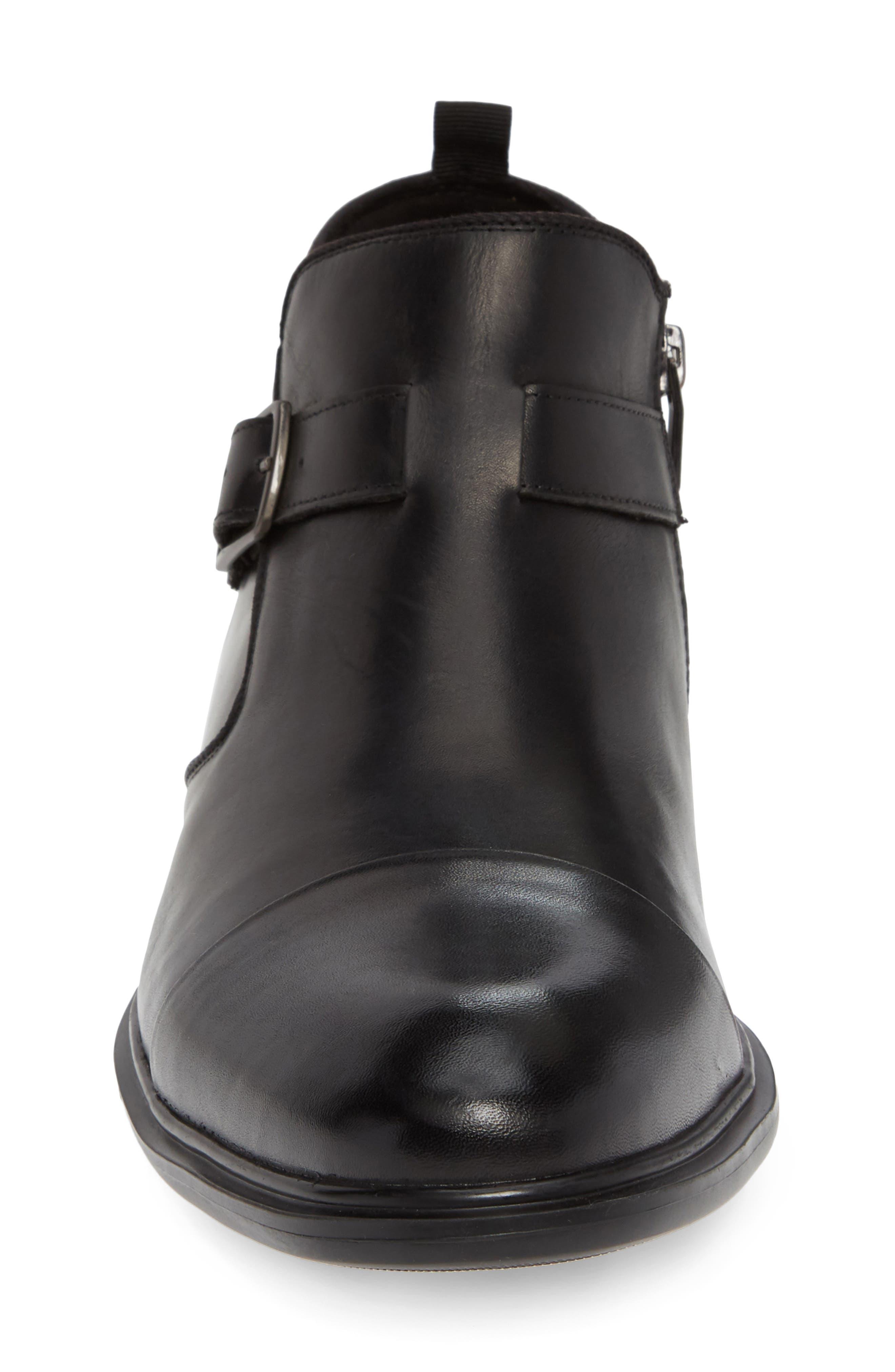 Garner Zip Boot,                             Alternate thumbnail 4, color,                             BLACK LEATHER