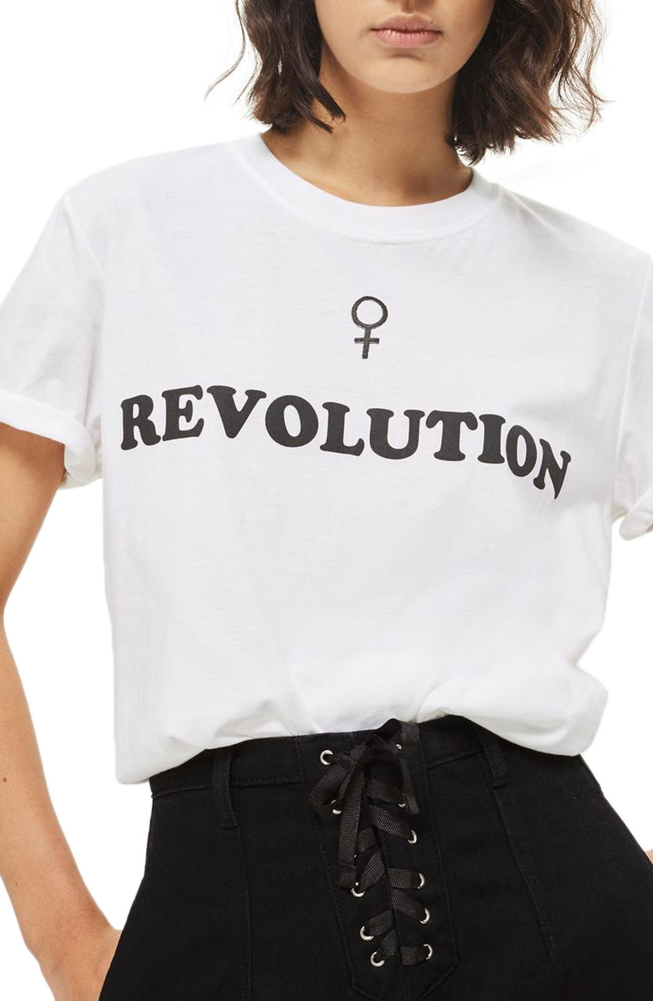 Female Revolution Graphic Tee,                             Main thumbnail 1, color,                             100