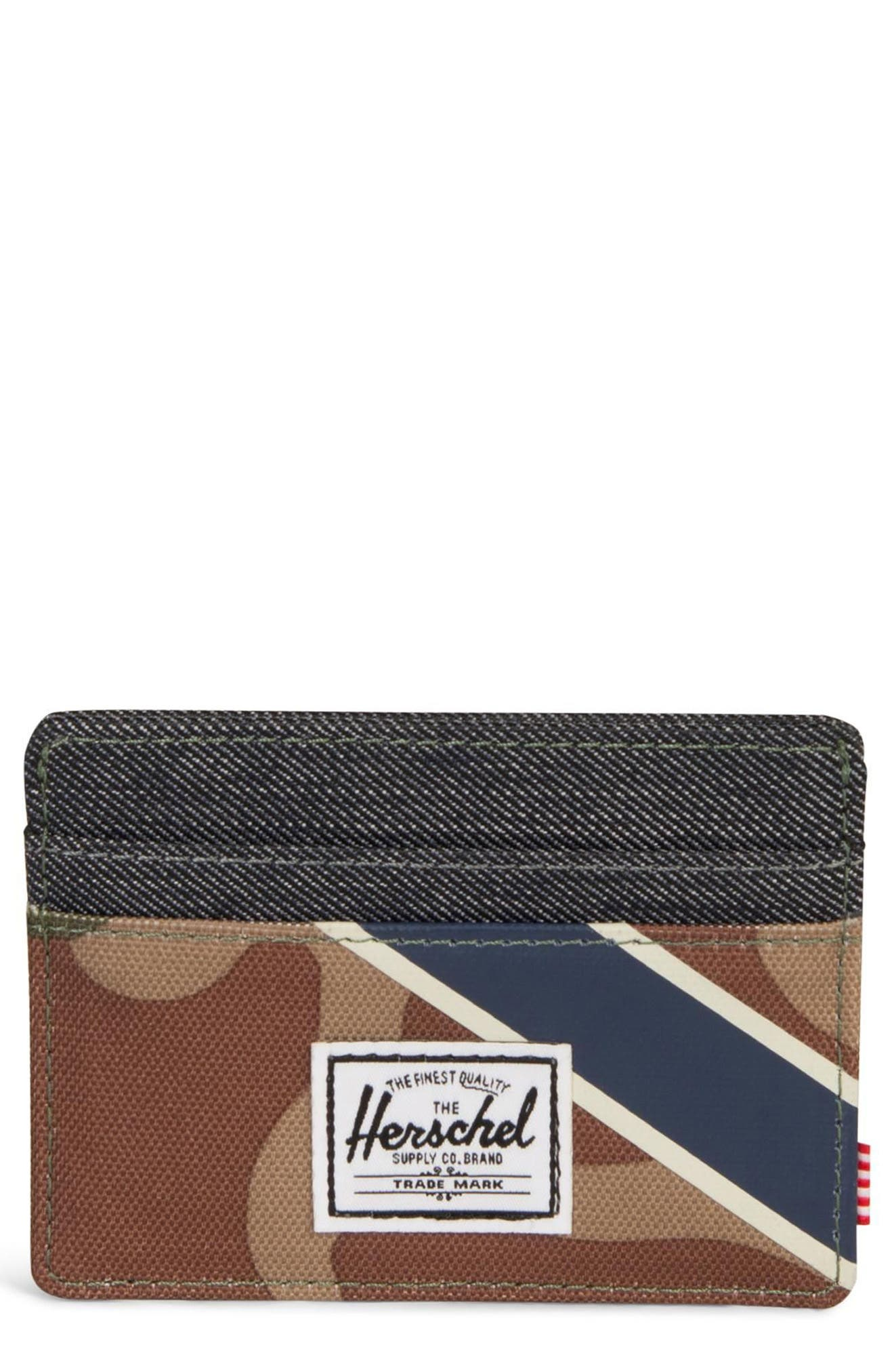 Charlie Card Case,                             Main thumbnail 1, color,                             WOODLAND/ SILVER GREEN/ DENIM