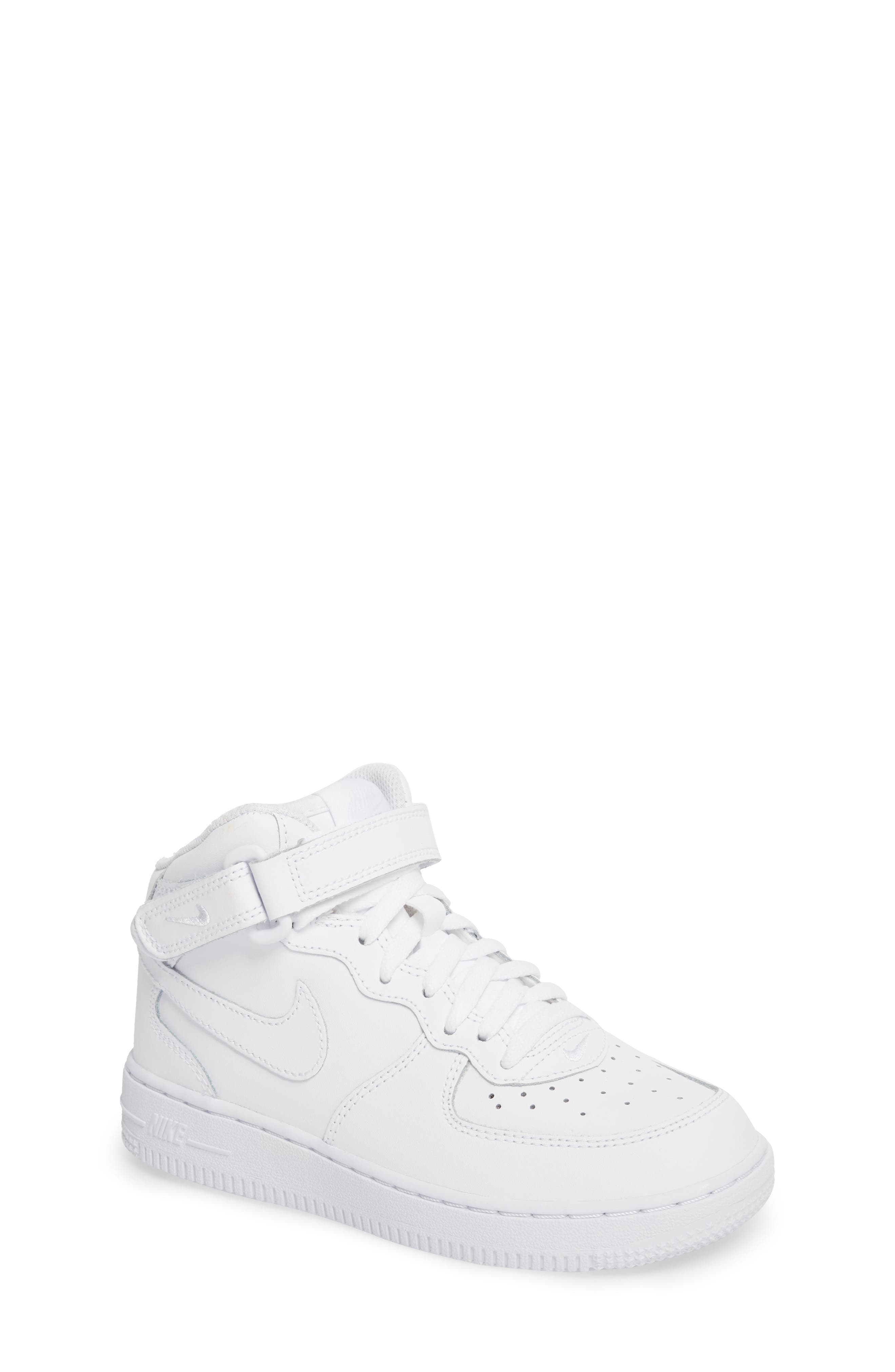 NIKE,                             Air Force 1 Mid Sneaker,                             Main thumbnail 1, color,                             WHITE/ WHITE