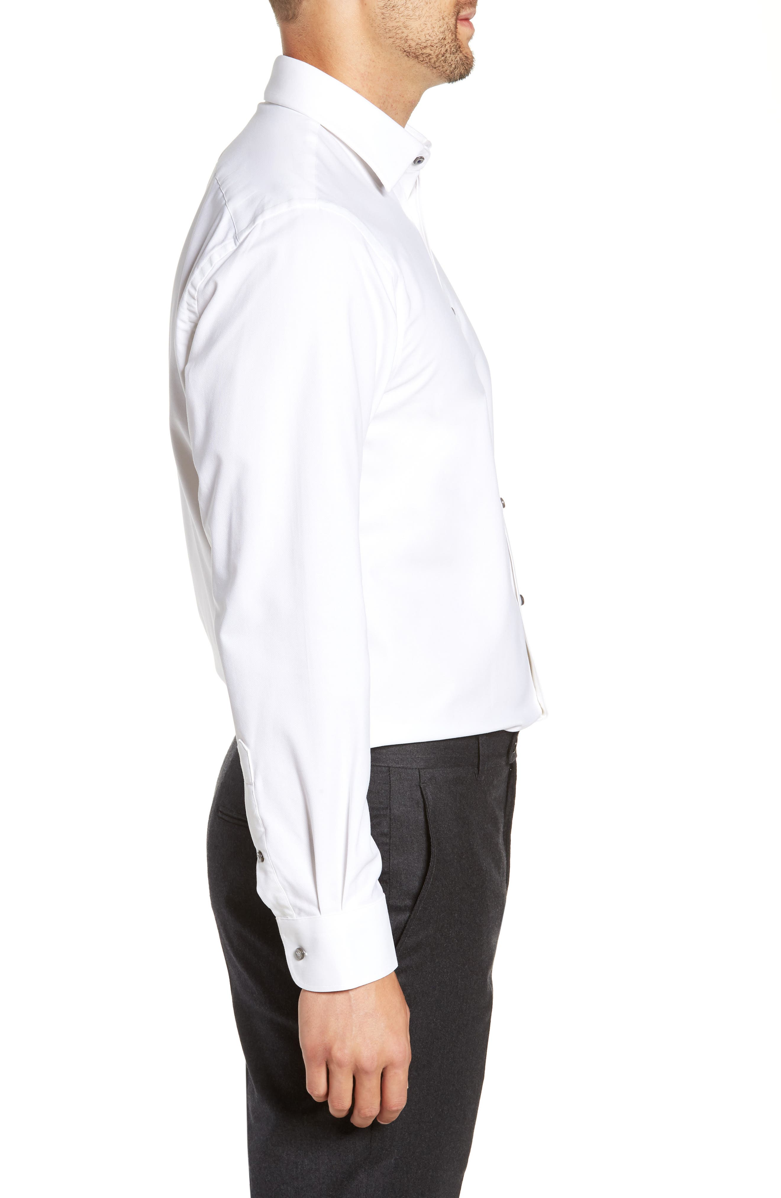 Tech-Smart Traditional Fit Stretch Solid Dress Shirt,                             Alternate thumbnail 4, color,                             WHITE