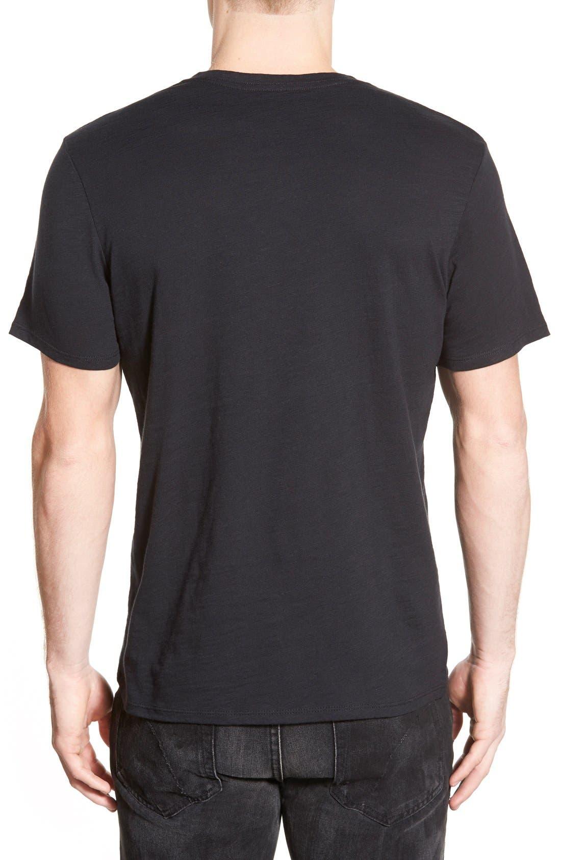 Slub Cotton V-Neck T-Shirt,                         Main,                         color, BLACK