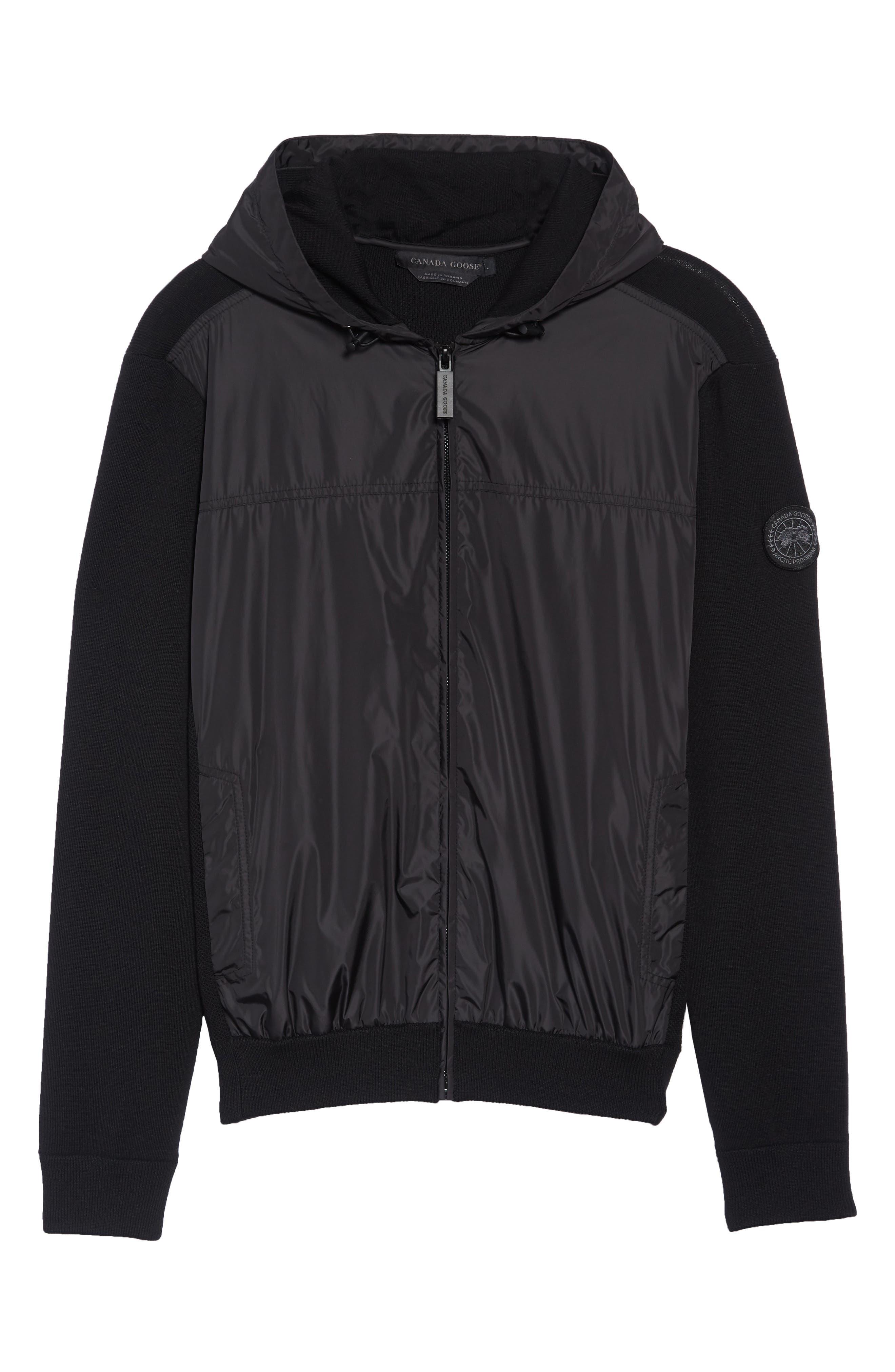 Windbridge Regular Fit Hooded Sweater Jacket,                             Alternate thumbnail 6, color,                             BLACK