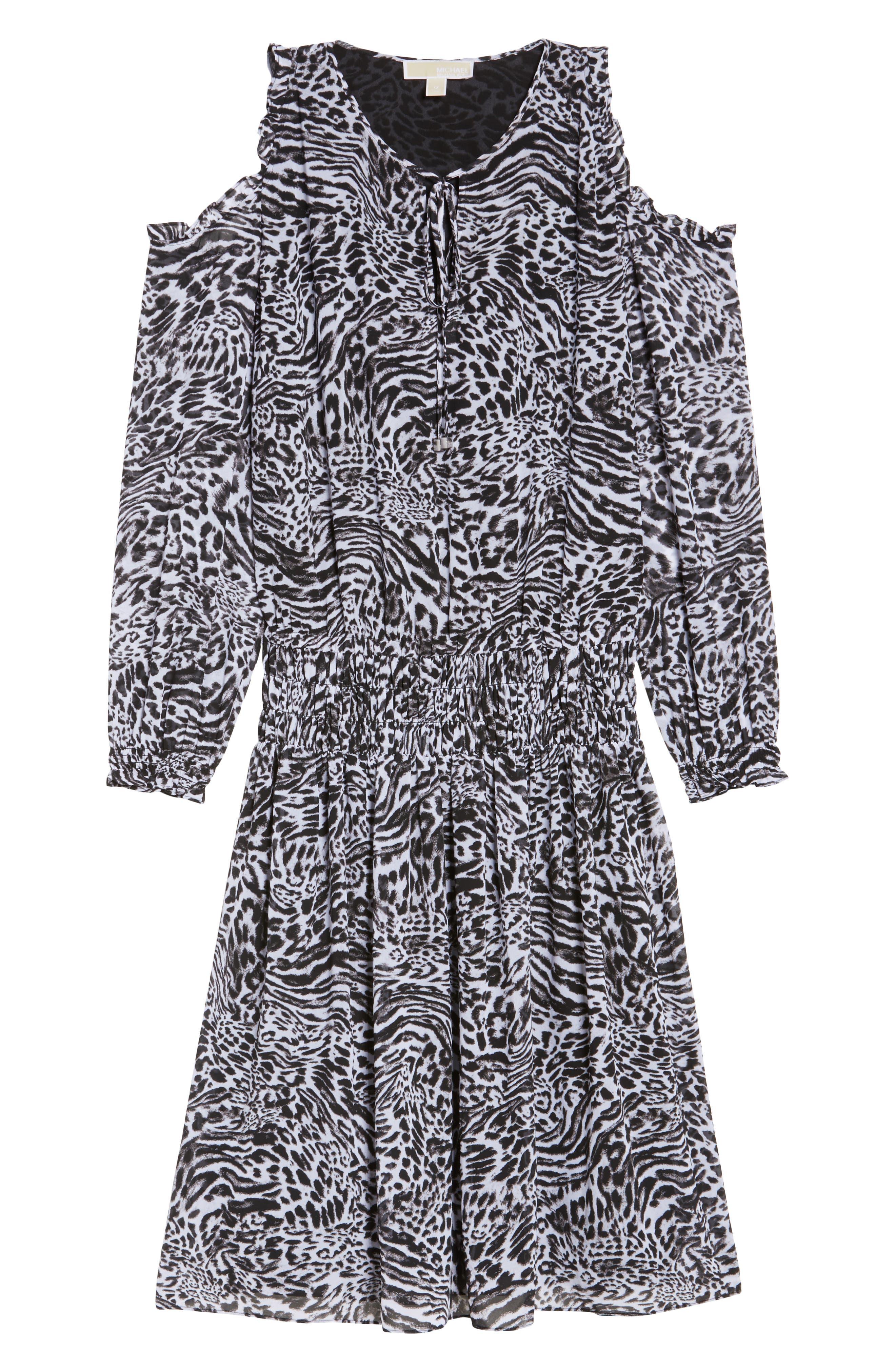 Big Cat Print Cold Shoulder Dress,                             Alternate thumbnail 6, color,                             001
