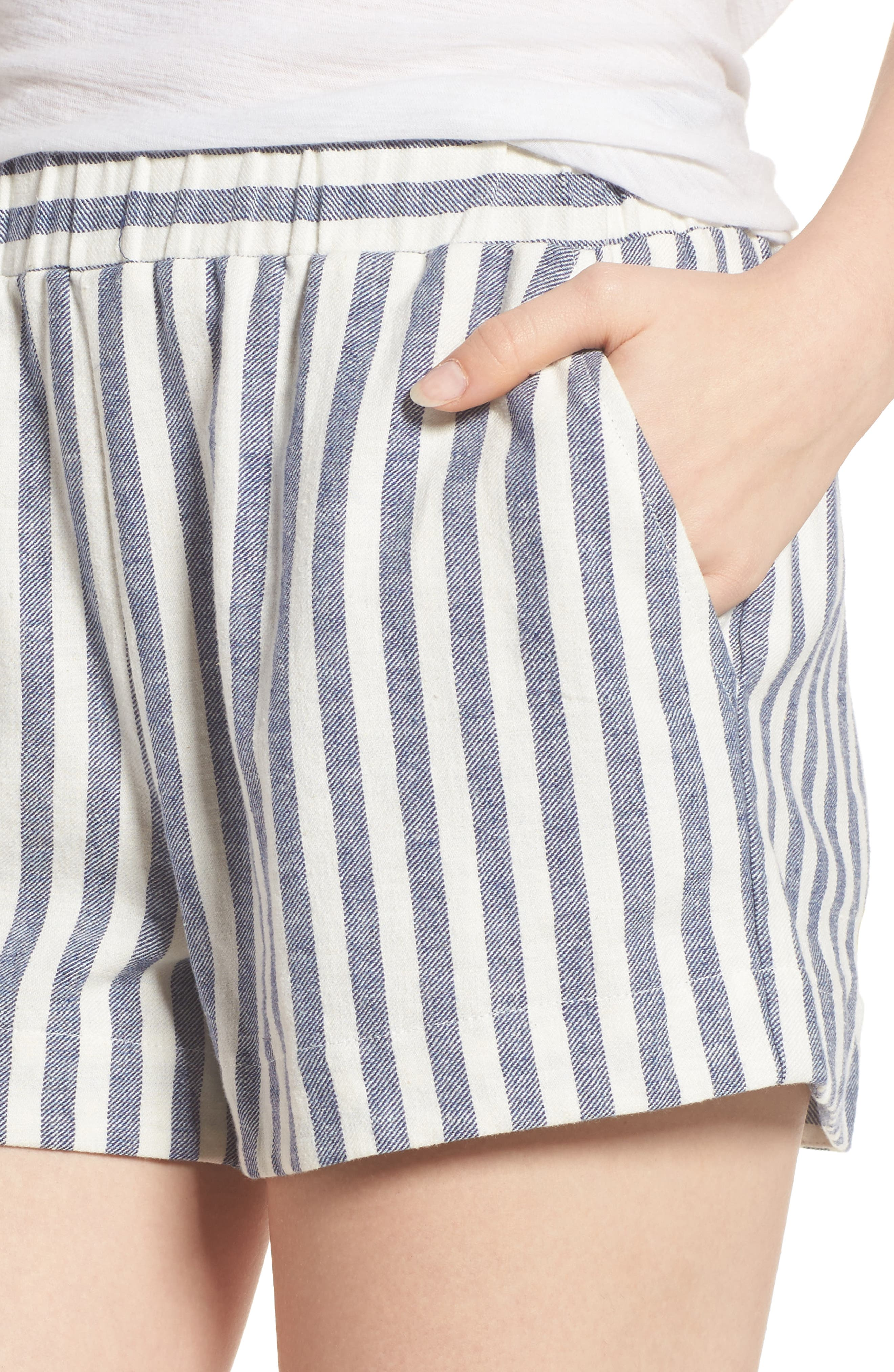 Stripe Linen Blend Shorts,                             Alternate thumbnail 4, color,                             903