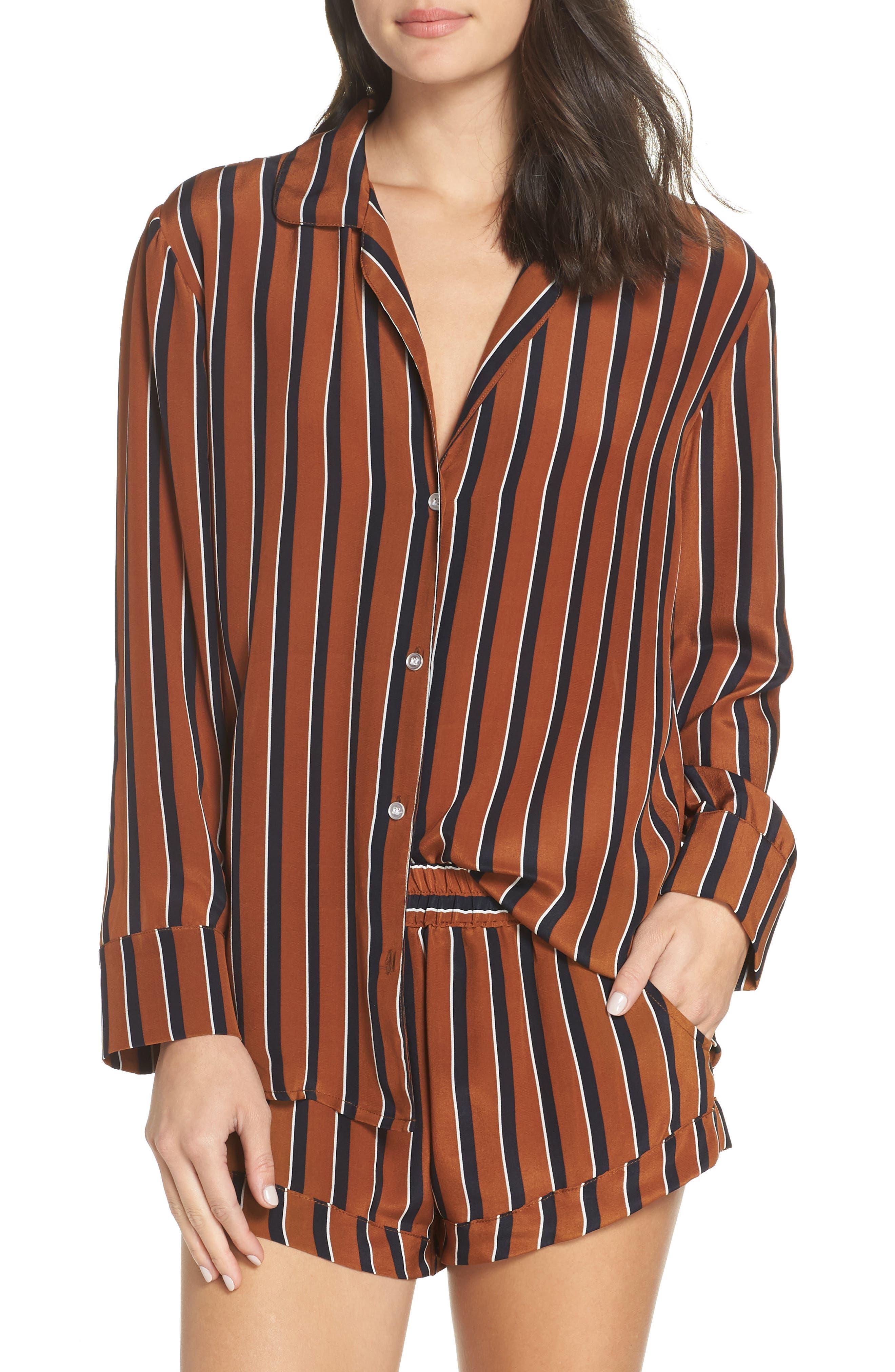 Fleur Striped Silk Pajama Top,                             Main thumbnail 1, color,                             TOBACCO STRIPE