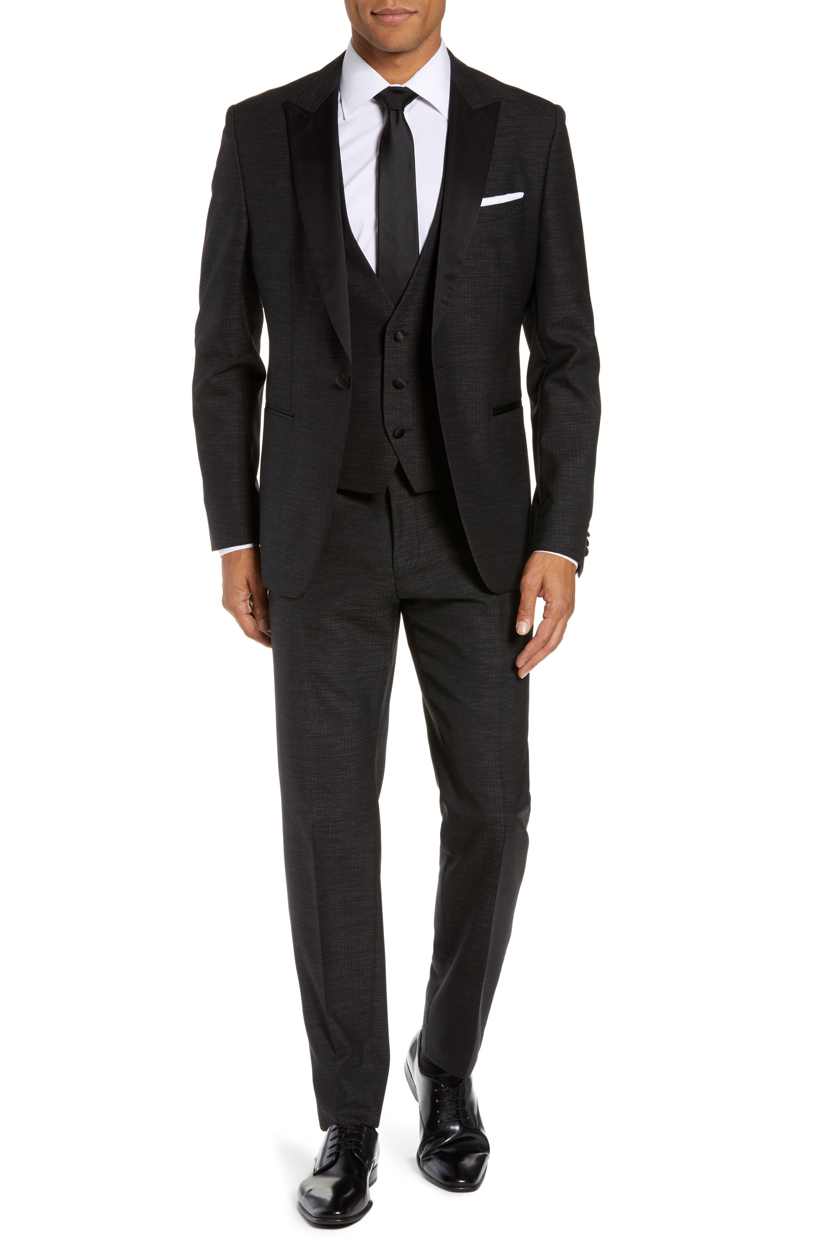 BOSS,                             Rendal/Wilden Slim Fit Three-Piece Tuxedo,                             Main thumbnail 1, color,                             BLACK