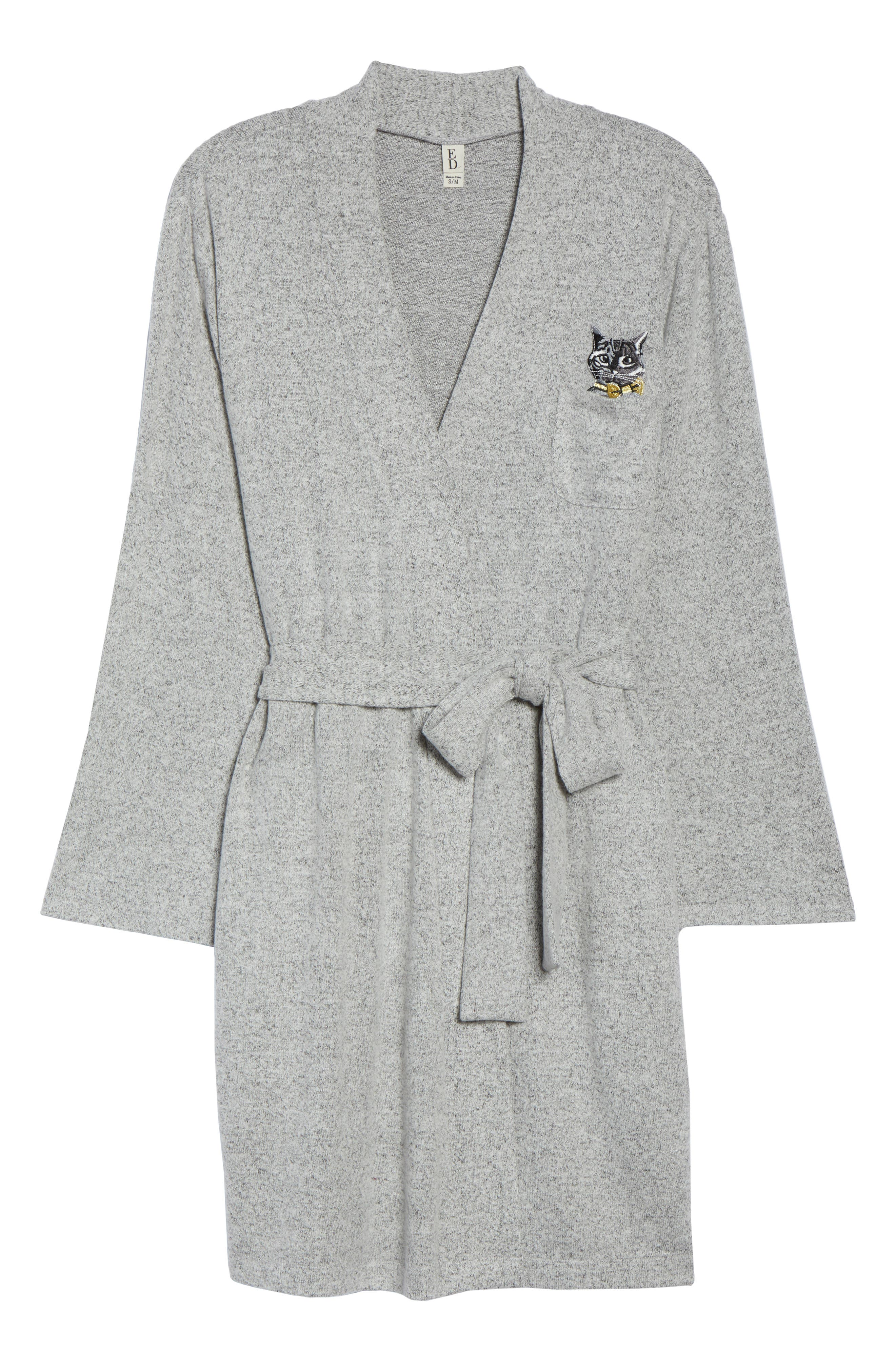 Cat Short Robe,                             Alternate thumbnail 6, color,                             HEATHER GREY