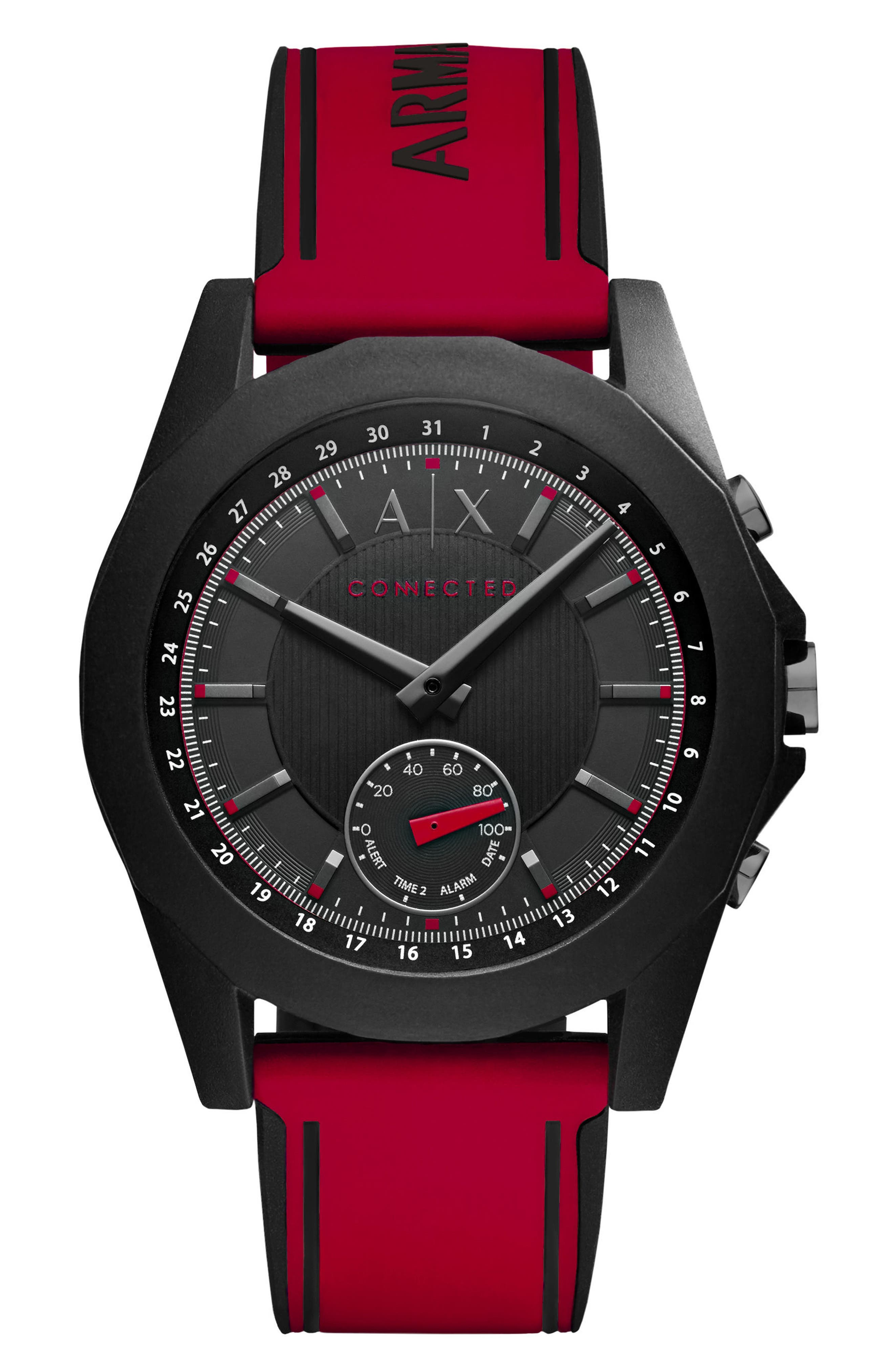 Connected Silicone Strap Hybrid Smart Watch, 44mm,                             Main thumbnail 1, color,                             600