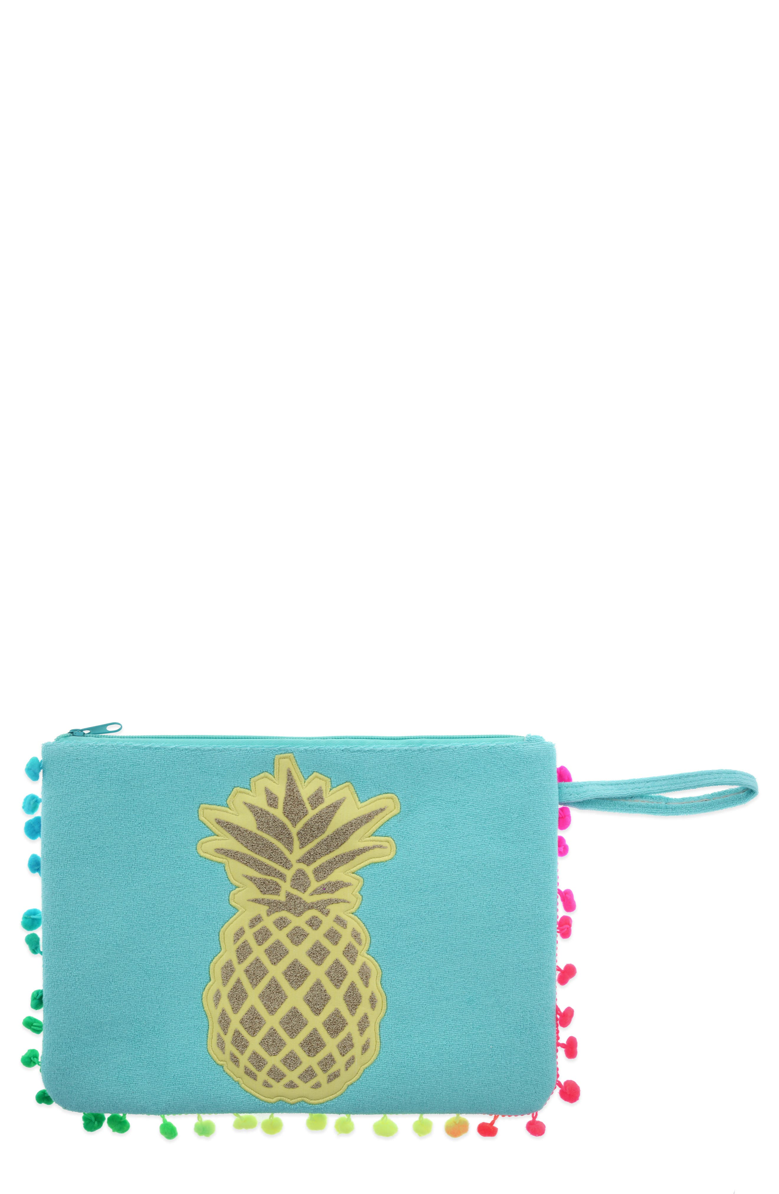 Pineapple Pompom Bikini Bag,                         Main,                         color, 400