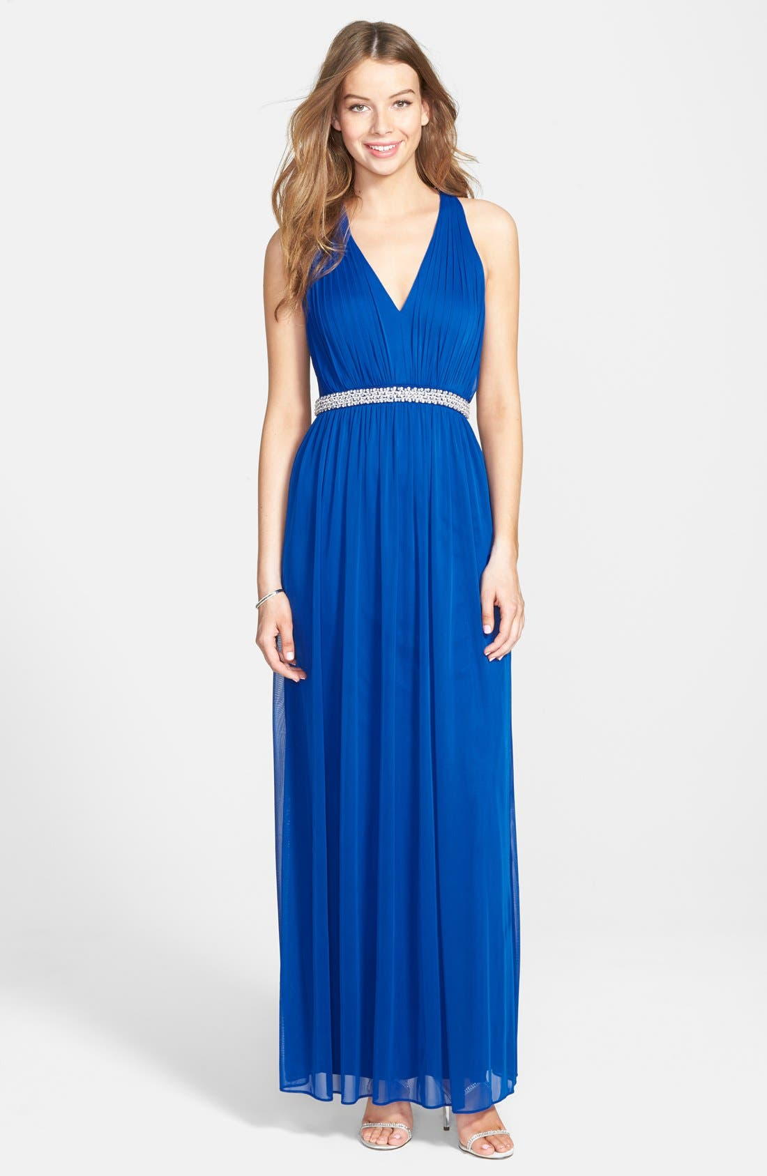 Beaded Jersey Gown, Main, color, 496