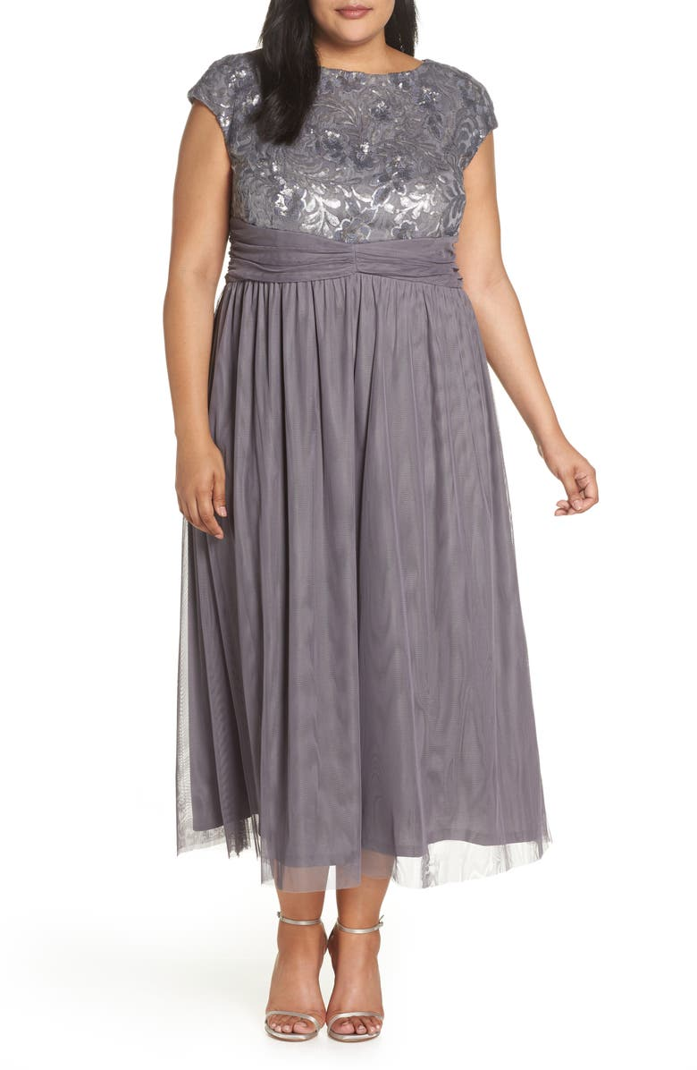 e505d5a96ea1b Brianna Embellished Cap Sleeve Gown (Plus Size)