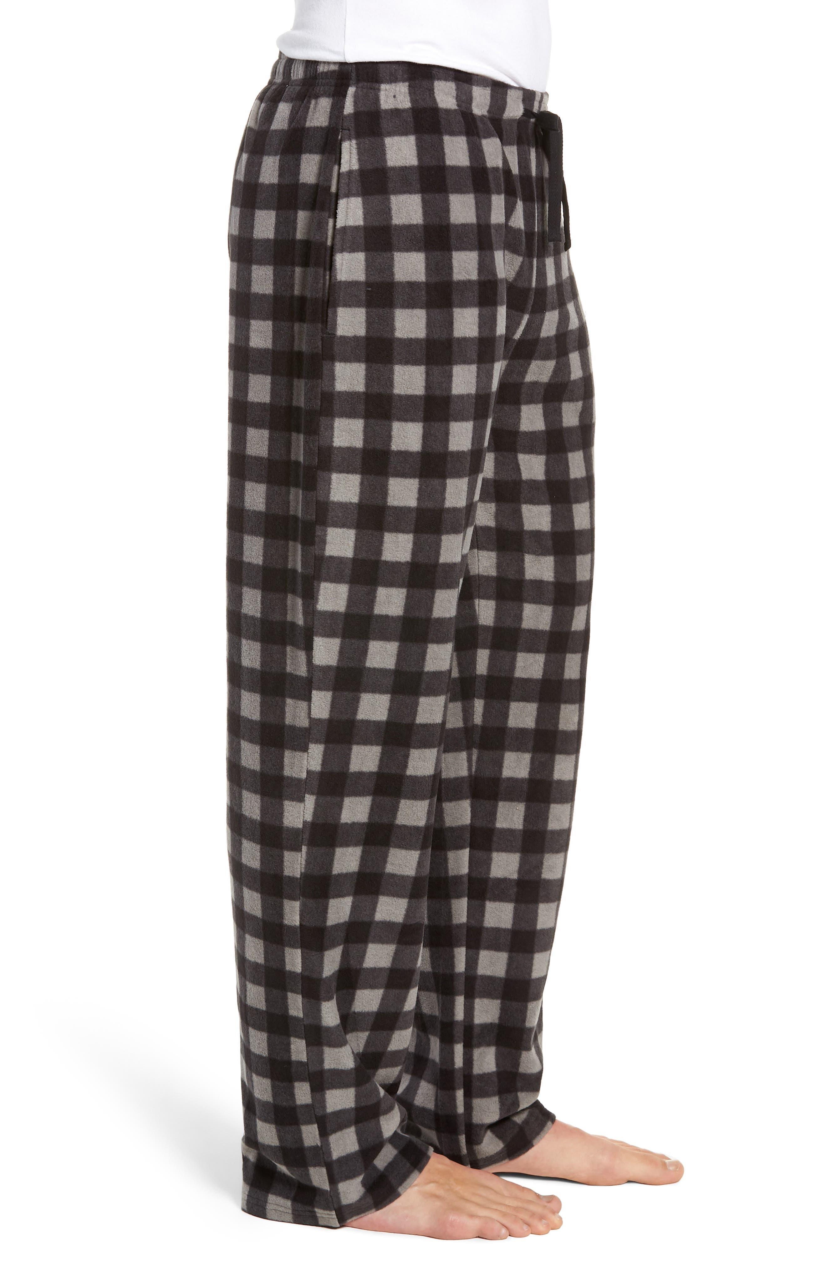 Print Microfleece Pajama Pants,                             Alternate thumbnail 3, color,                             GREY DECEMBER- BLACK BUFFALO