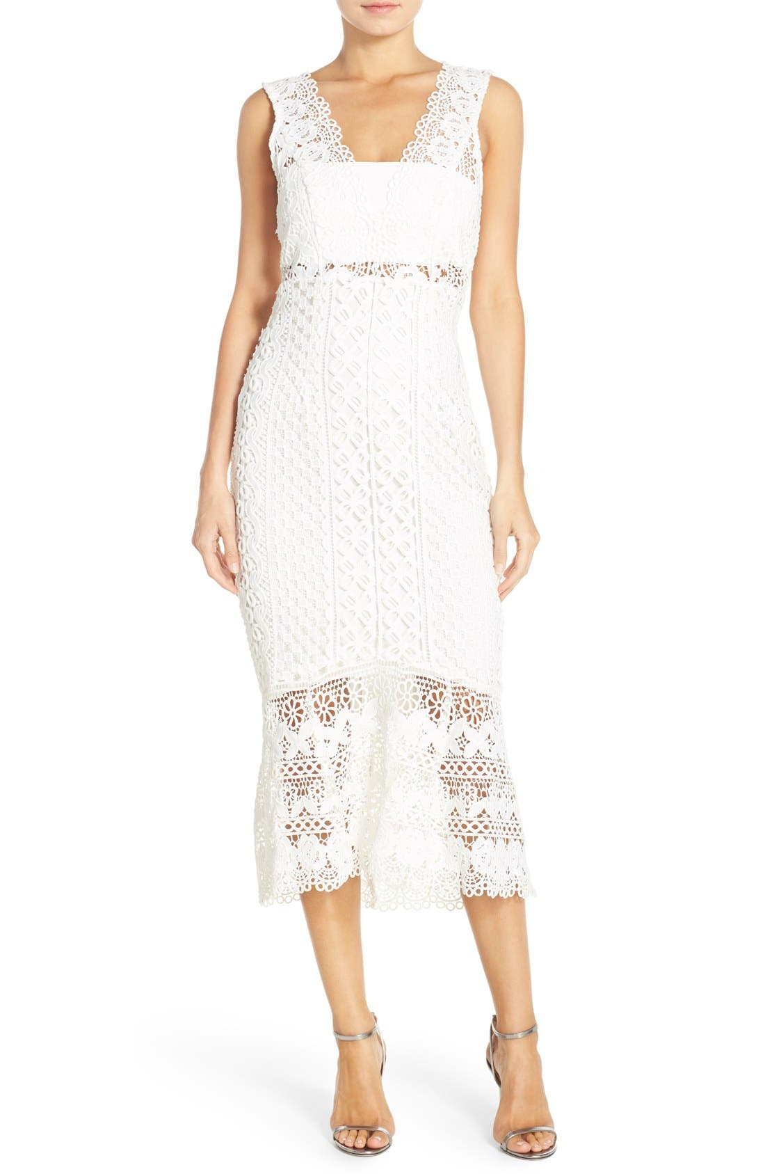 Odyssey Lace Midi Dress,                         Main,                         color, 110
