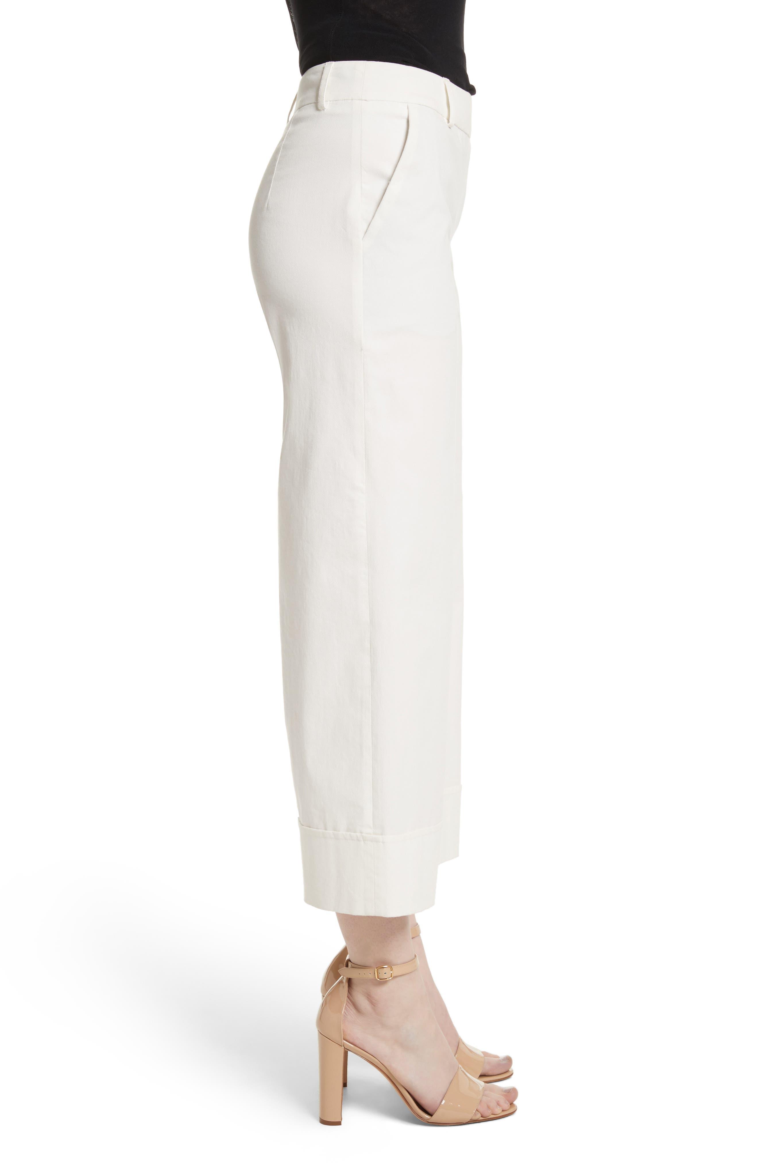Stretch Cotton Gabardine Crop Wide Leg Pants,                             Alternate thumbnail 3, color,