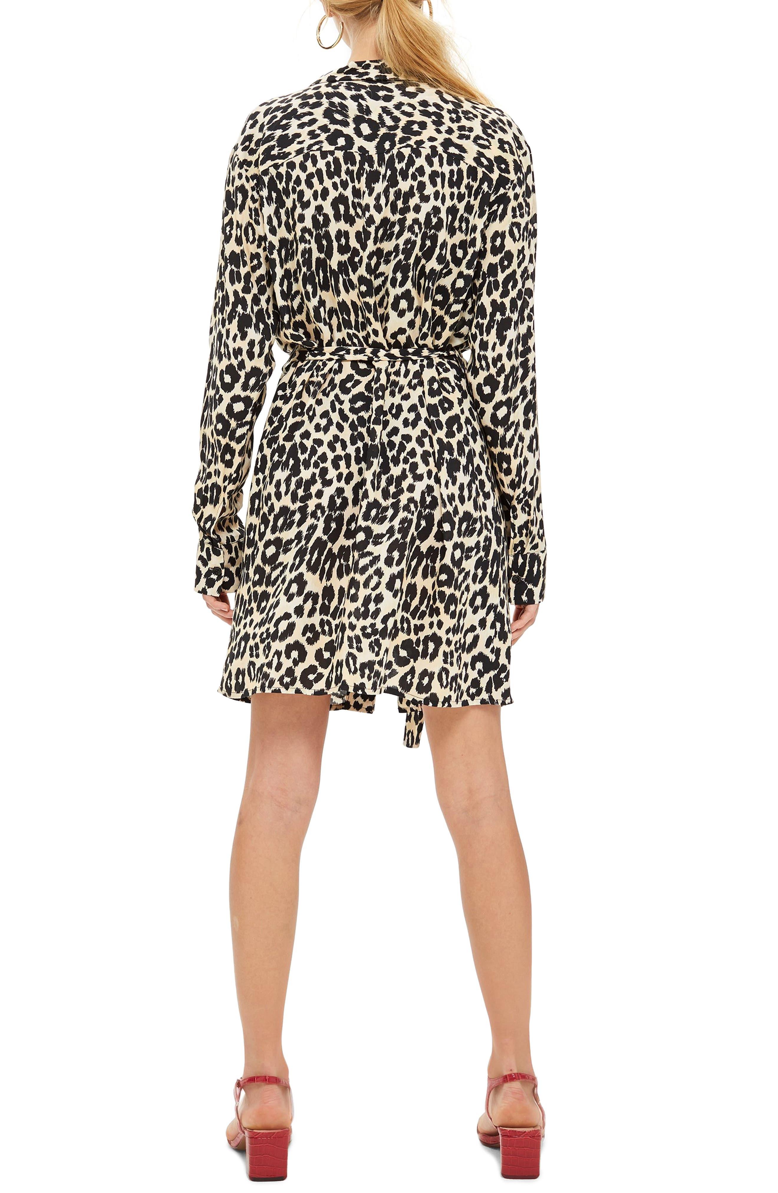 Leopard Print Pajama Shirtdress,                             Alternate thumbnail 2, color,                             NUDE MULTI