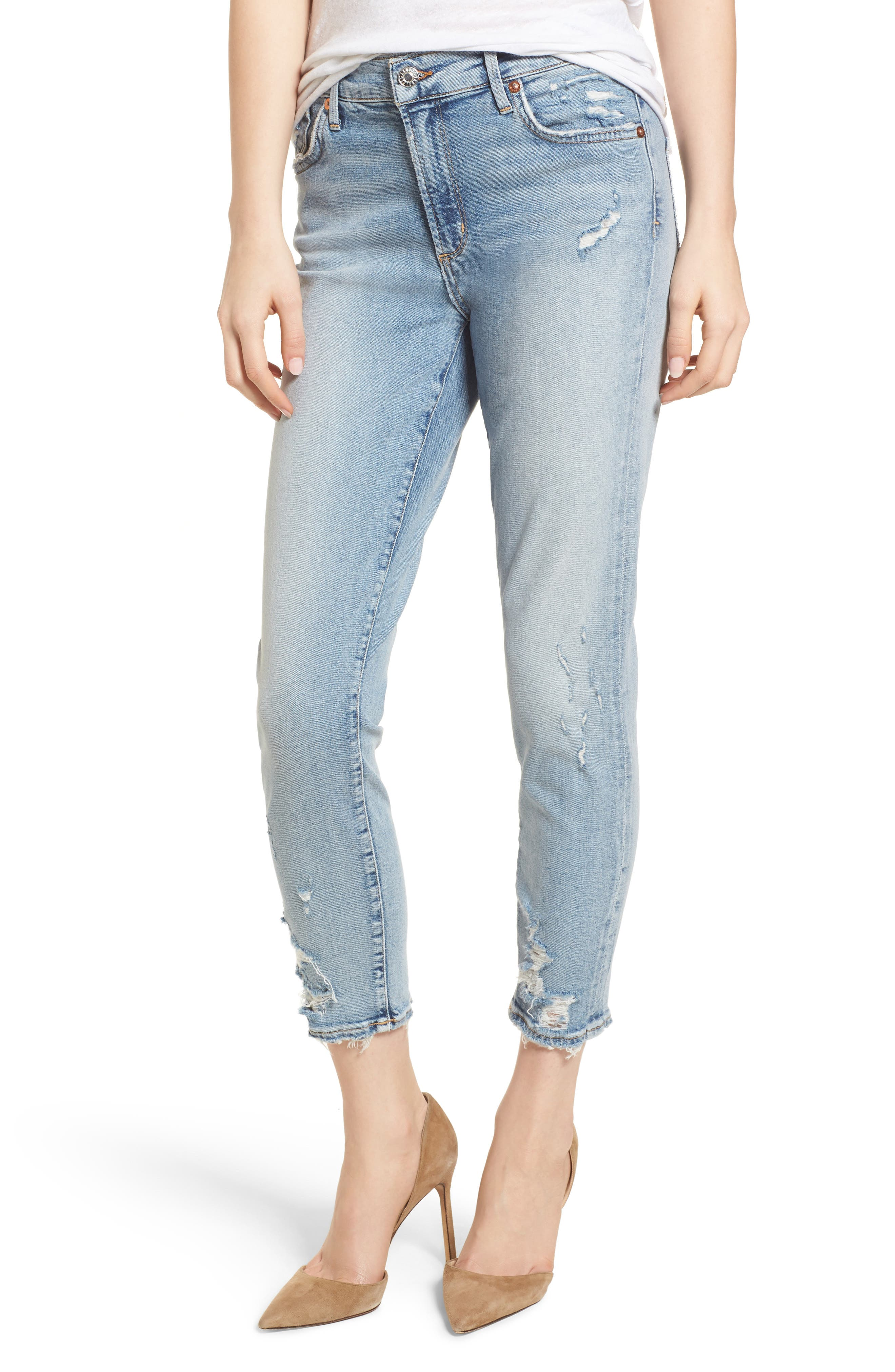 Sophie Distressed High Waist Crop Skinny Jeans,                         Main,                         color,
