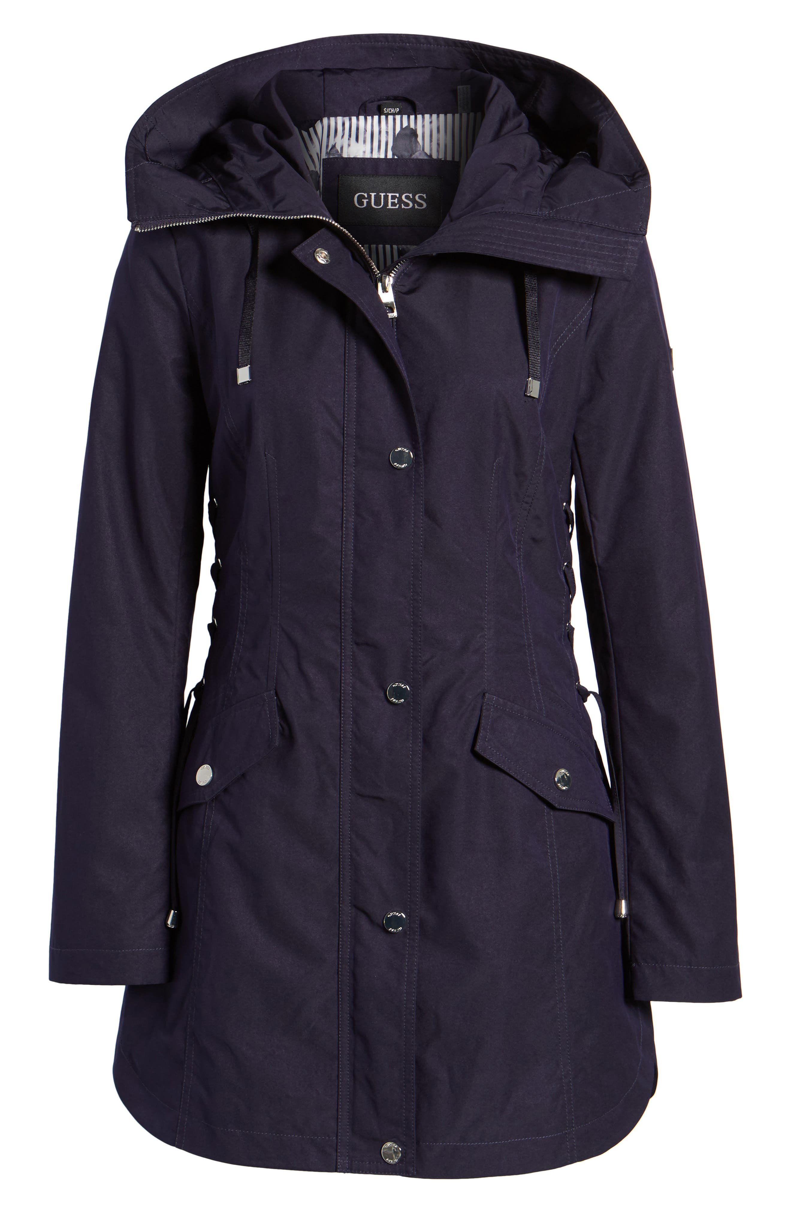 Side Lace-Up Hooded Trench Coat,                             Alternate thumbnail 11, color,