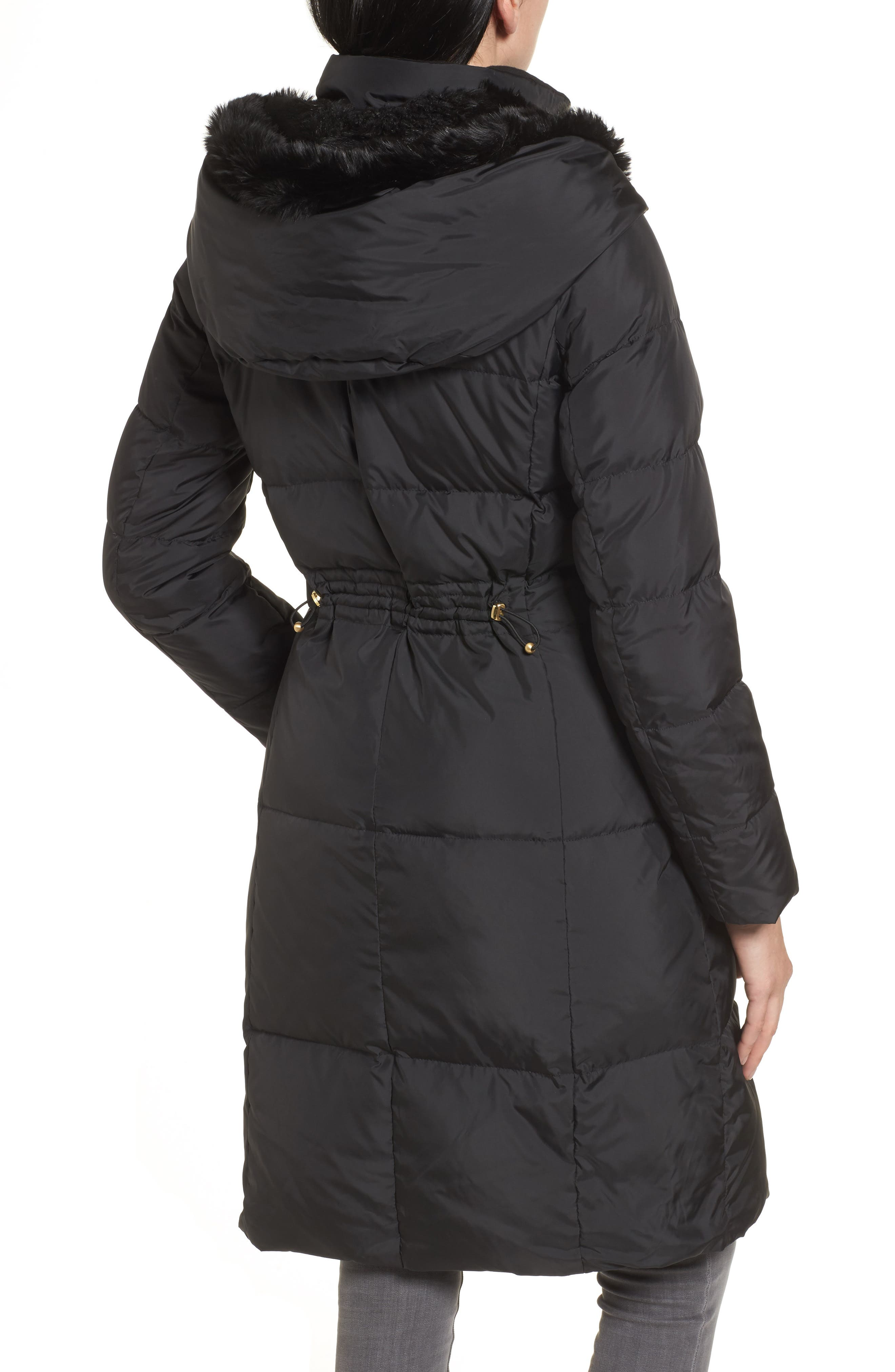 3/4 Down Coat with Faux Fur Hood,                             Alternate thumbnail 2, color,                             001