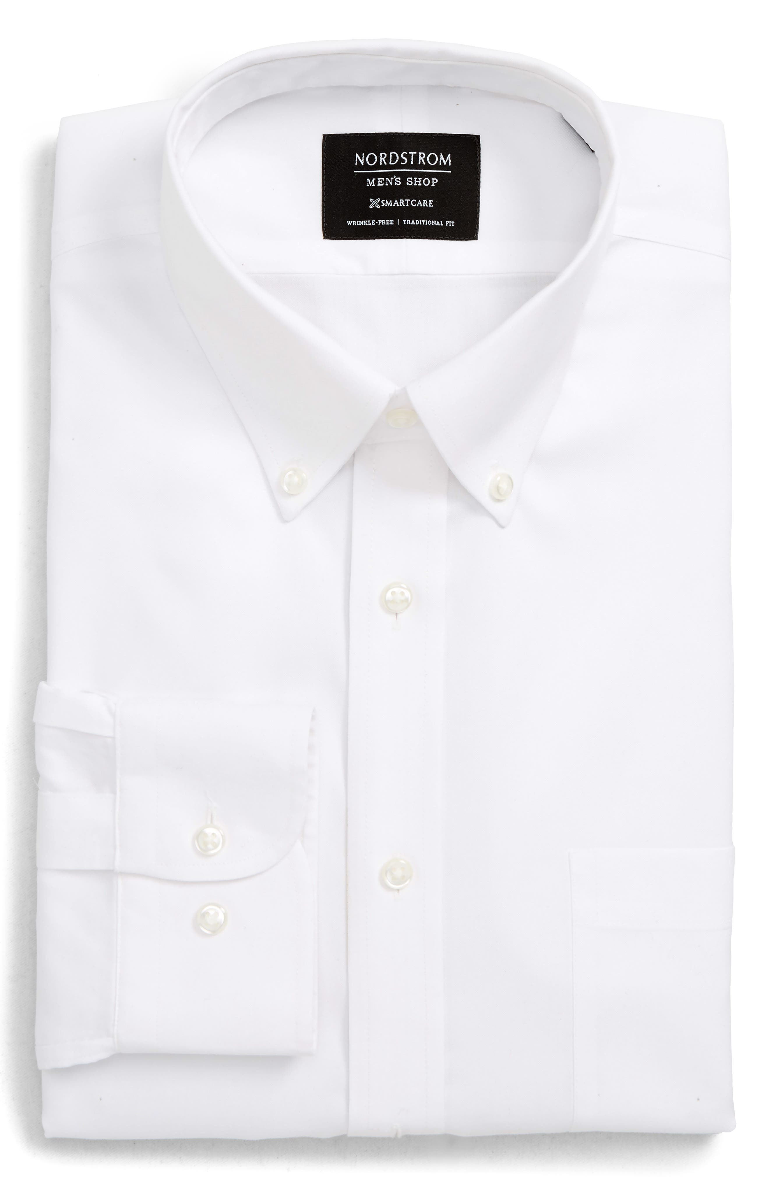 Nordstrom Shop Smartcare(TM) Traditional Fit Pinpoint Dress Shirt, 5.5 34/35 - White