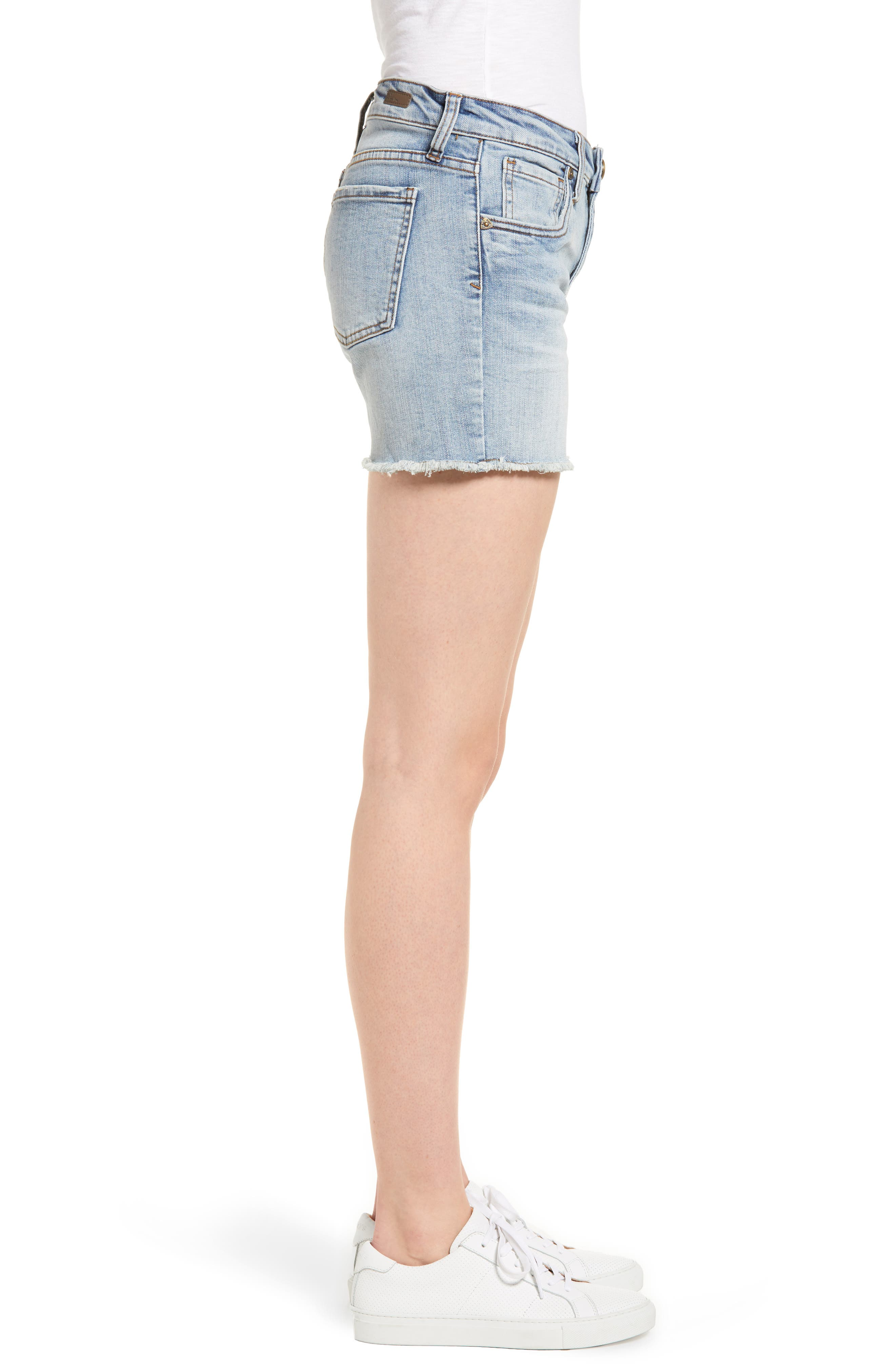 Gidget Cutoff Denim Shorts,                             Alternate thumbnail 3, color,                             470