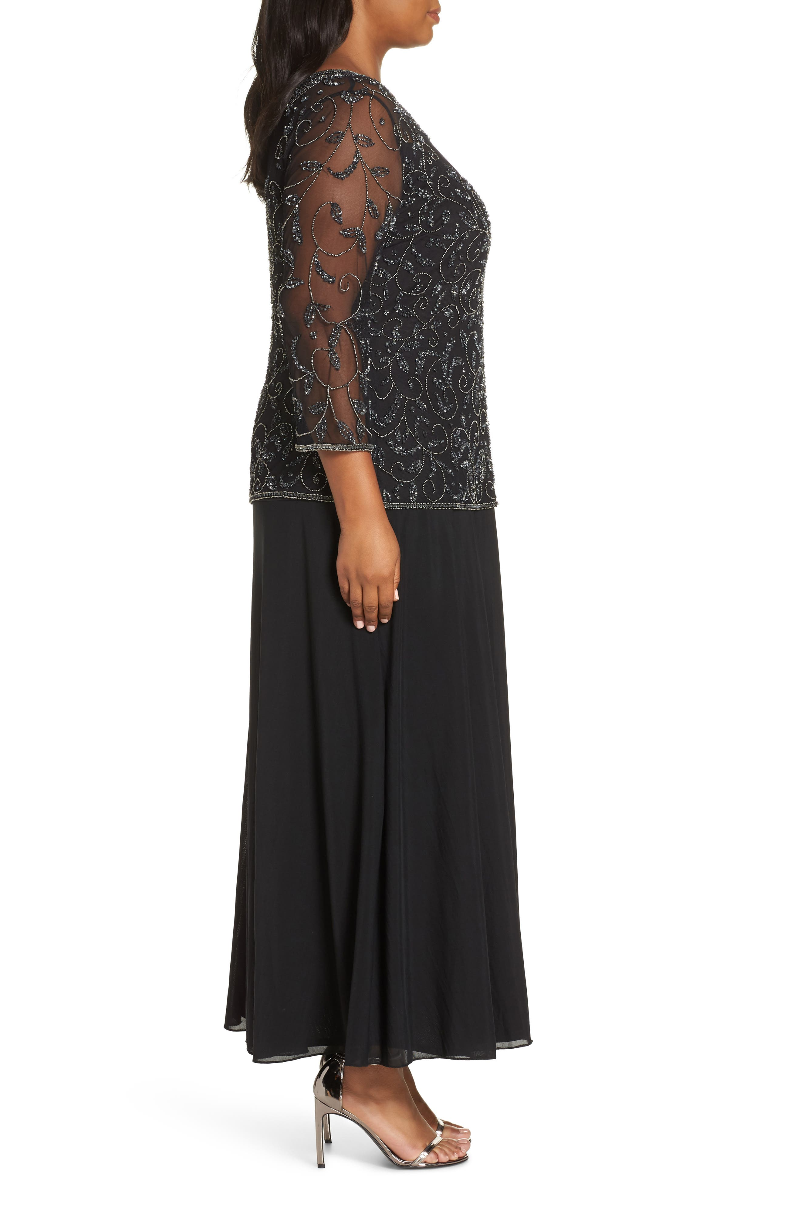 Pissaro Nights Beaded Mesh Mock Two-Piece Gown,                             Alternate thumbnail 3, color,                             BLACK