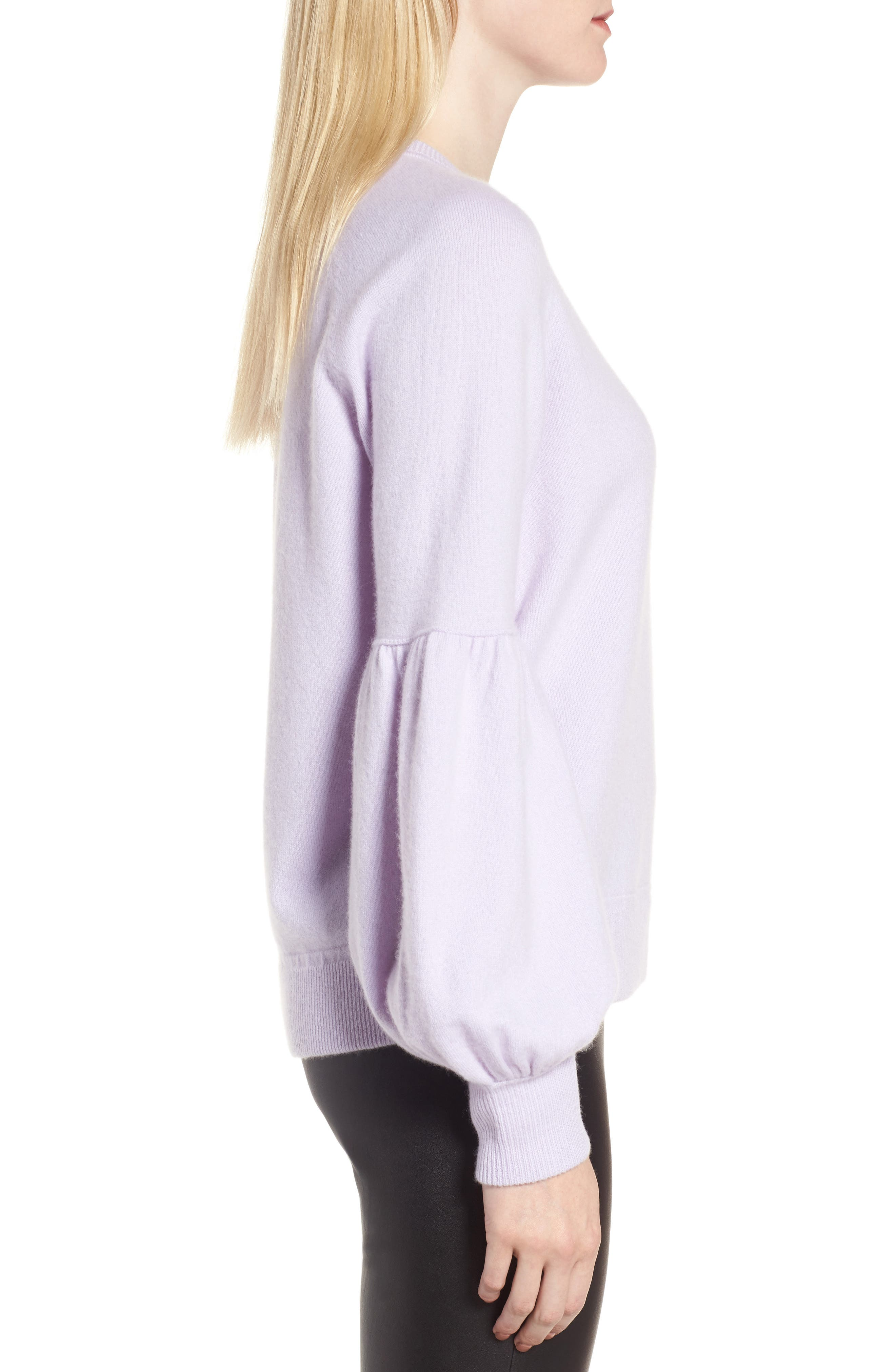 Blouson Sleeve Cashmere Blend Sweater,                             Alternate thumbnail 3, color,