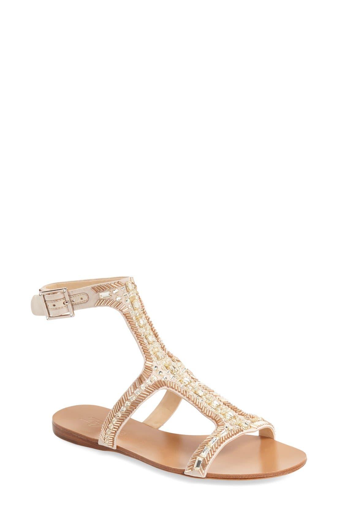 Imagine Vince Camuto 'Reid' Embellished T-Strap Flat Sandal,                             Main thumbnail 2, color,