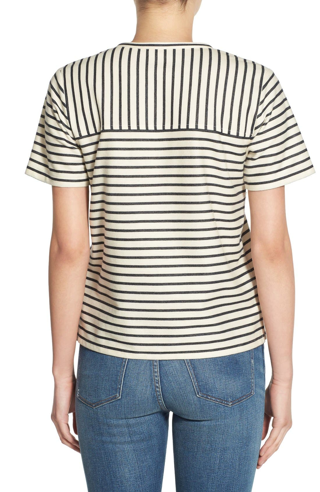 Stripe Lace-Up Top,                             Alternate thumbnail 2, color,                             900