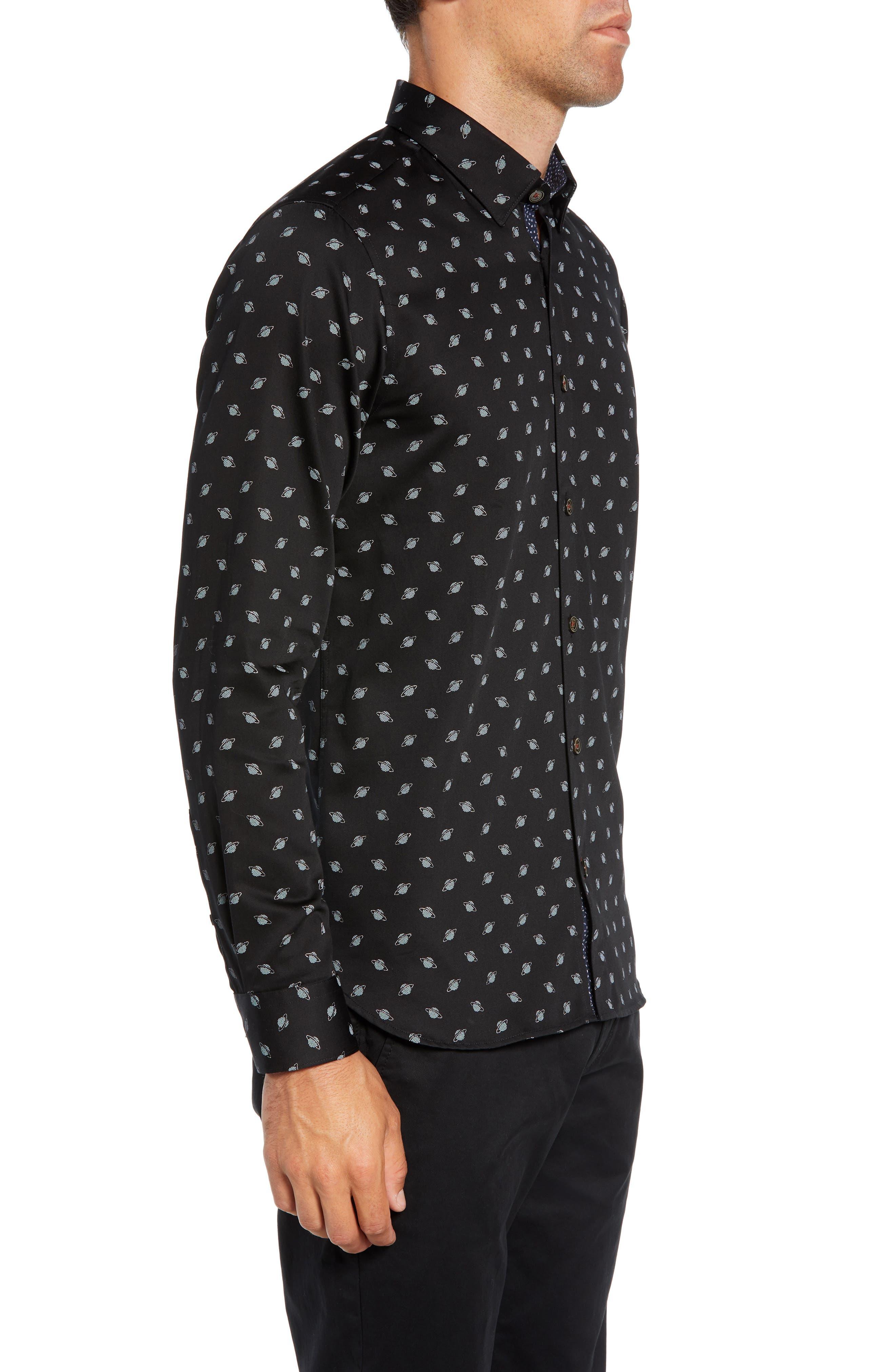 Greenpa Slim Fit Print Sport Shirt,                             Alternate thumbnail 4, color,                             BLACK