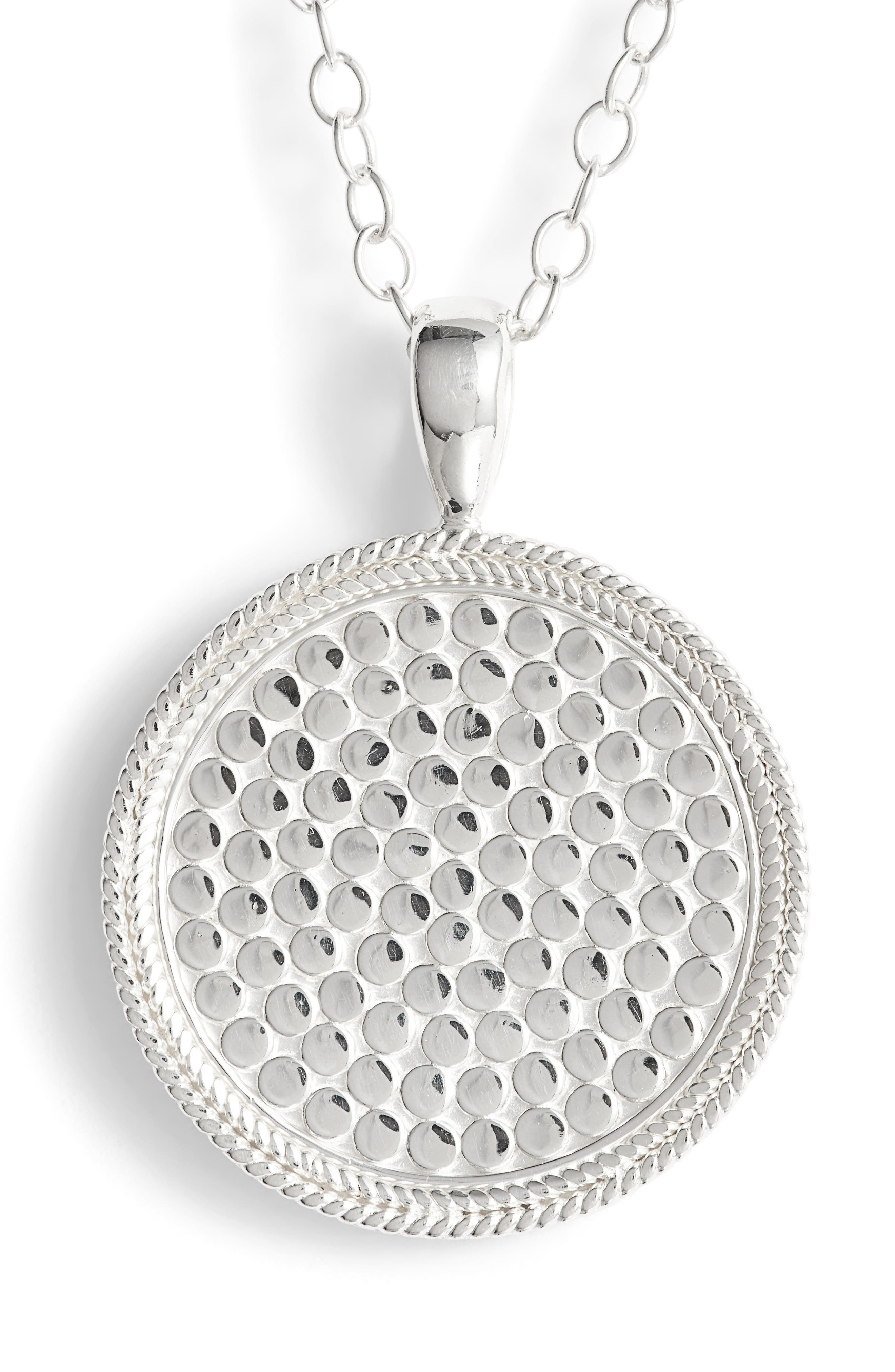 ANNA BECK,                             Medallion Pendant Necklace,                             Alternate thumbnail 5, color,                             SILVER