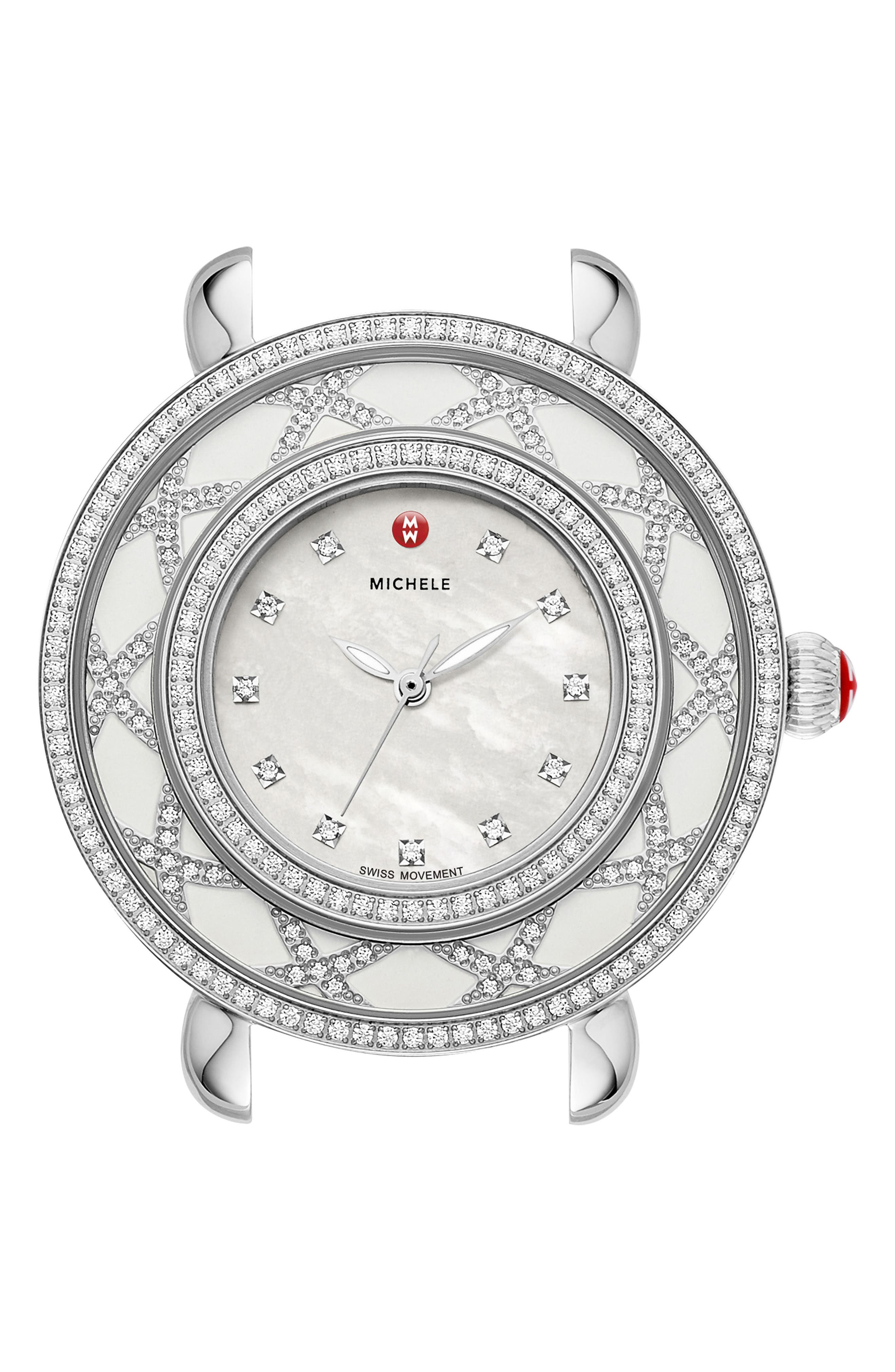 Cloette Diamond & Mother-of-Pearl Watch Head, 28mm,                             Alternate thumbnail 3, color,                             SILVER/ MOTHER OF PEARL/ WHITE
