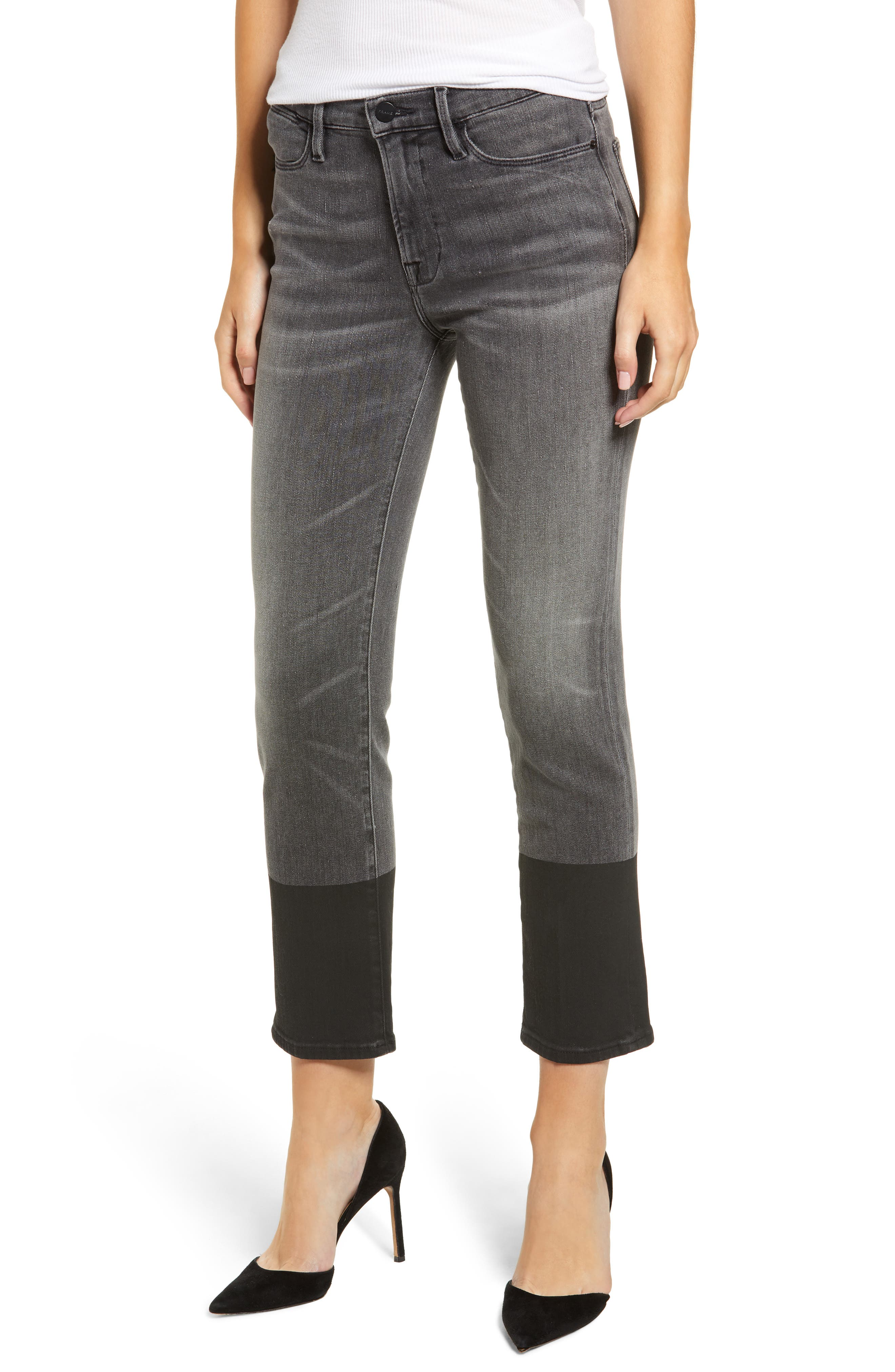 FRAME Le High Straight-Leg Cropped Jeans W/ Coated Hem in Sleepy Hollow