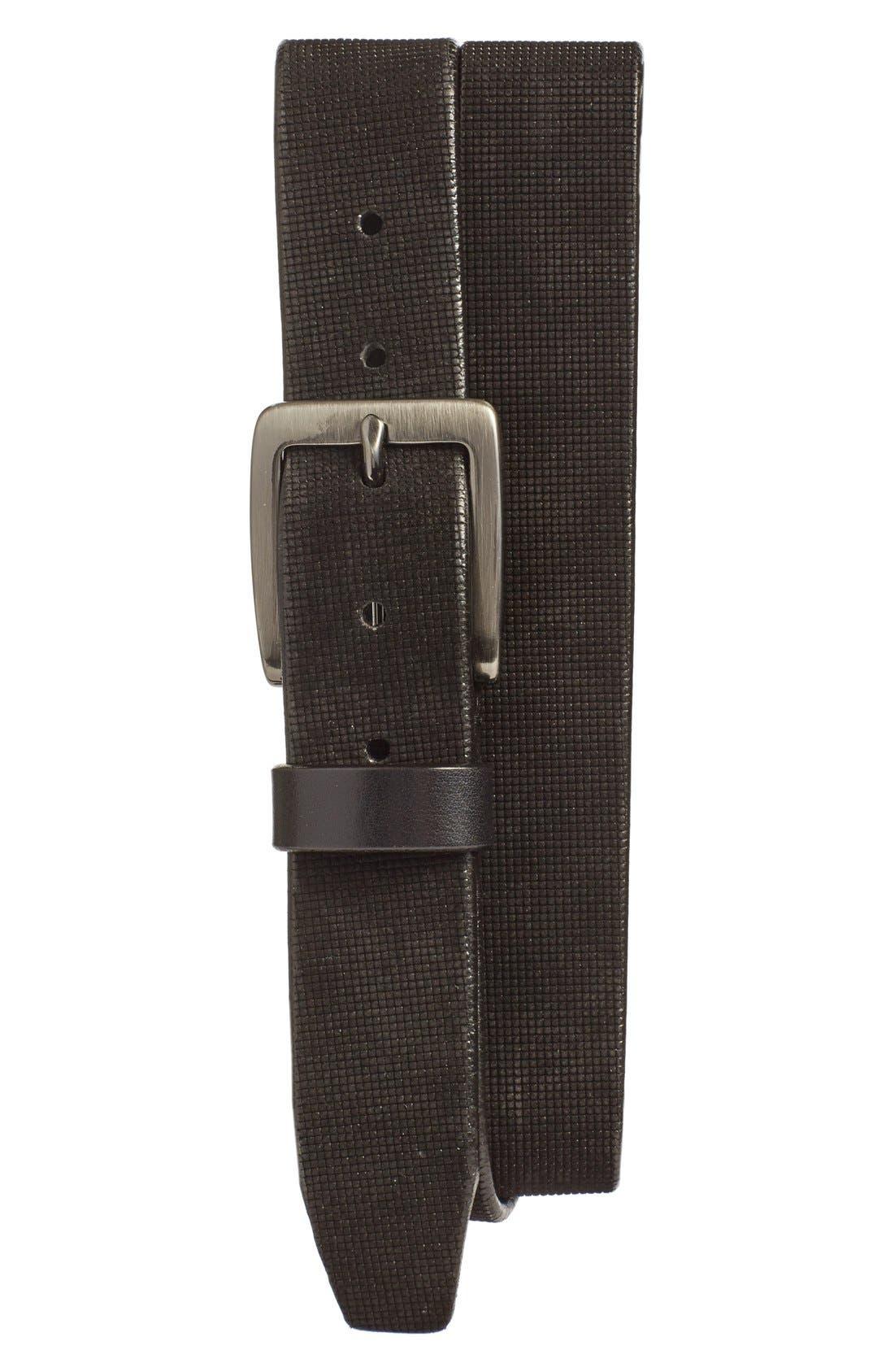 Leather Belt,                         Main,                         color, GREY