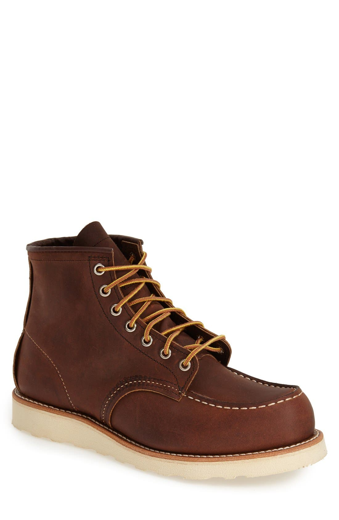RED WING,                             6 Inch Moc Toe Boot,                             Main thumbnail 1, color,                             BOURBON YUMA LEATHER