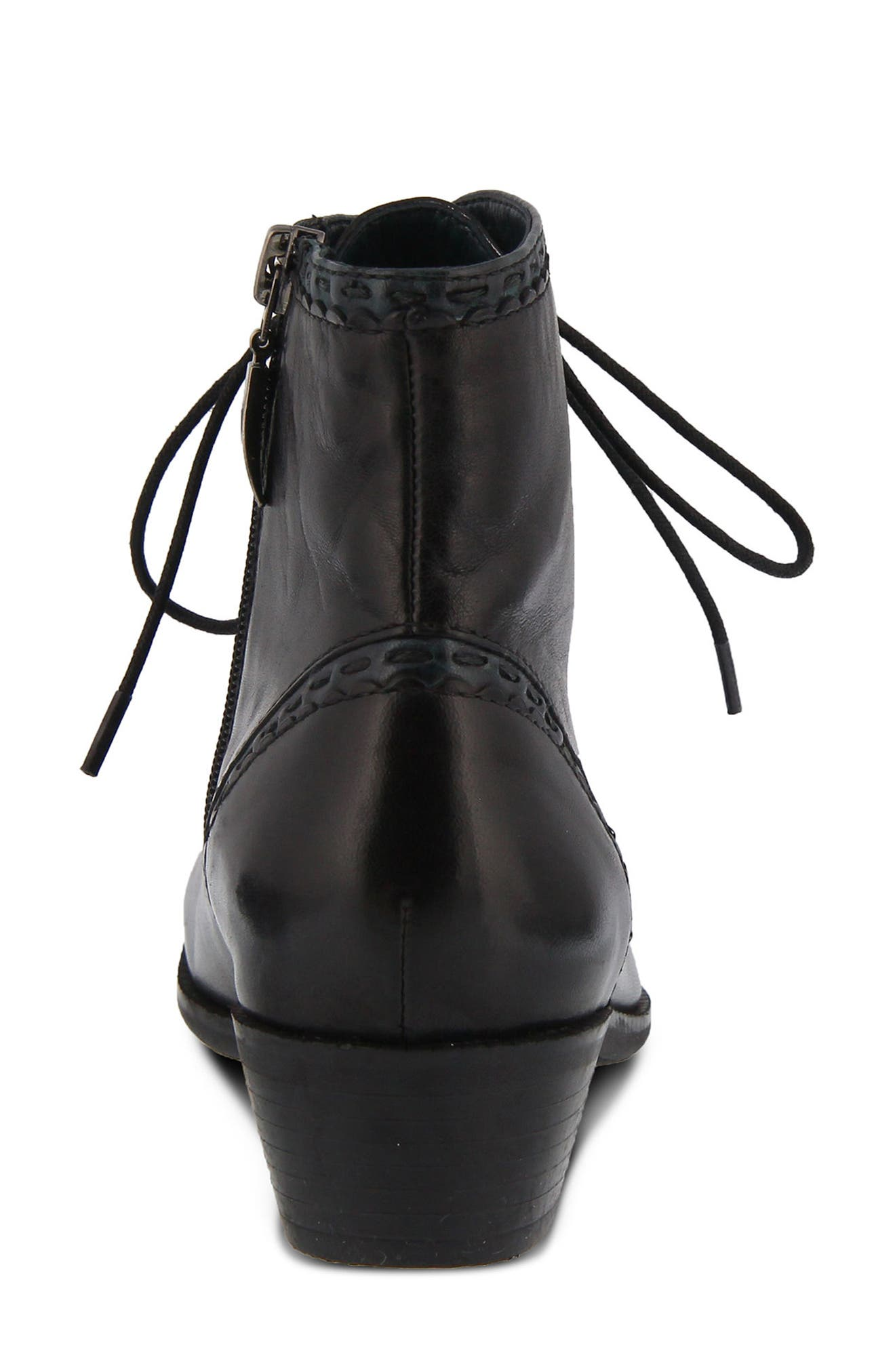 Jaru Lace-Up Bootie,                             Alternate thumbnail 6, color,                             BLACK LEATHER