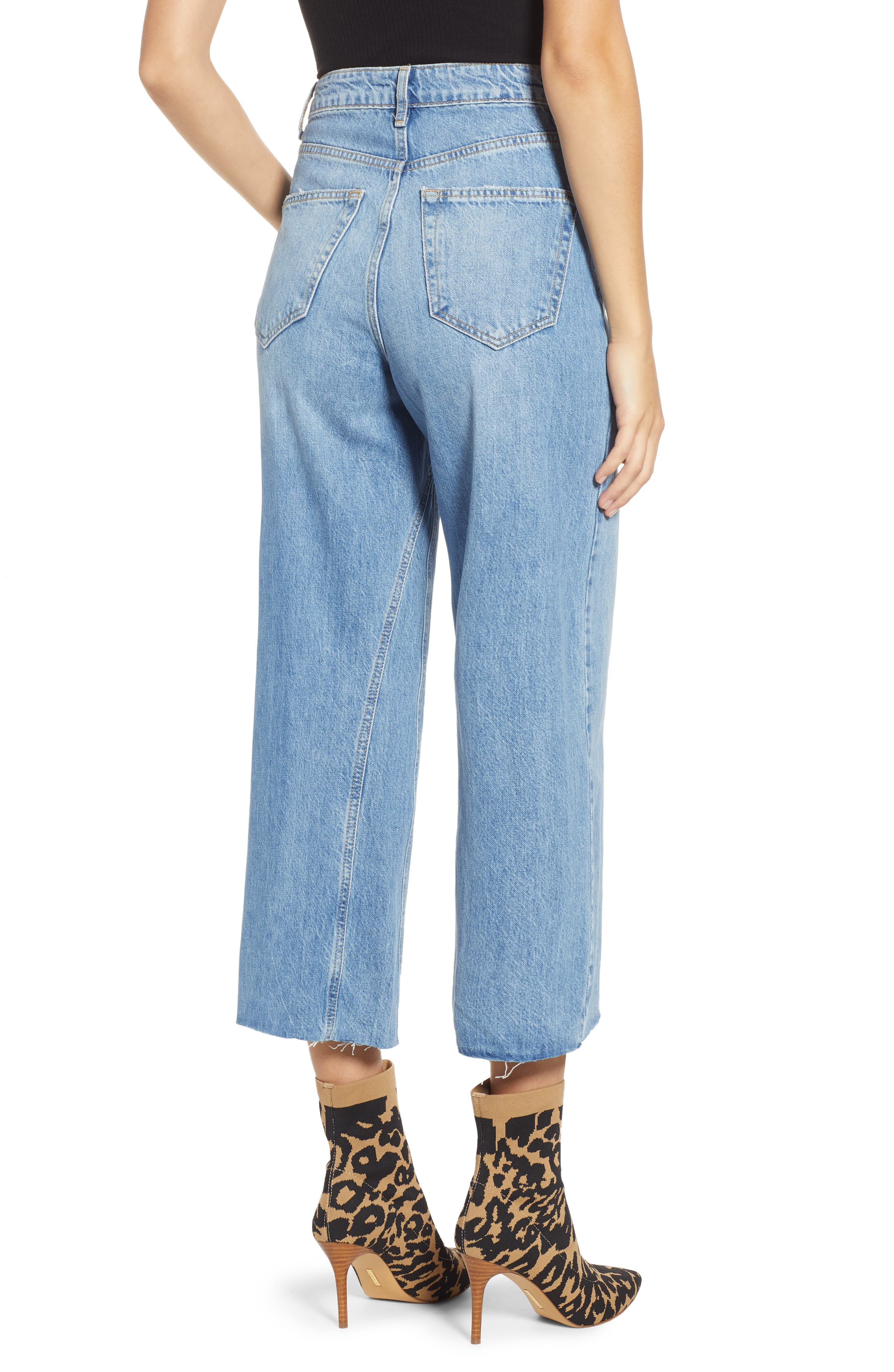 Crop Wide Leg Jeans,                             Alternate thumbnail 2, color,                             MID DENIM
