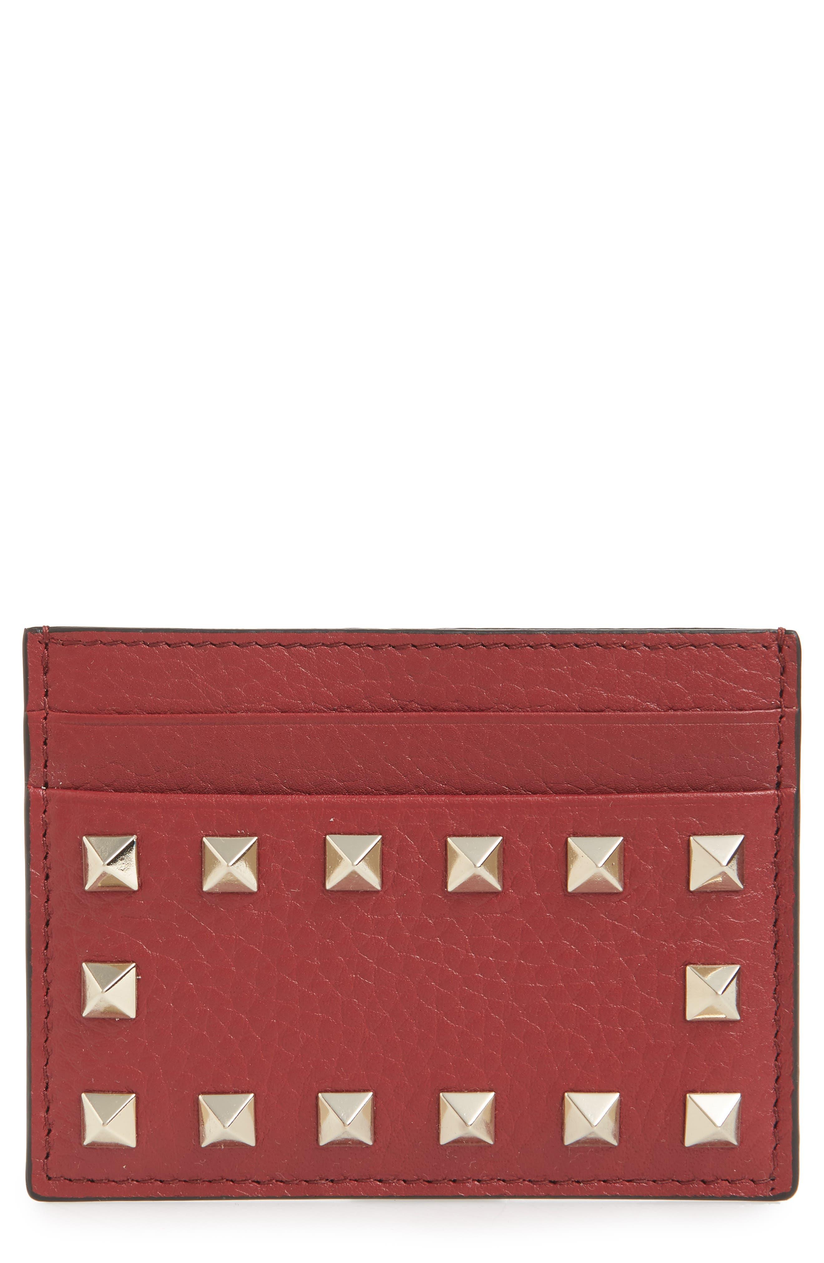 Rockstud Calfskin Leather Card Holder,                             Main thumbnail 1, color,                             RUBINO