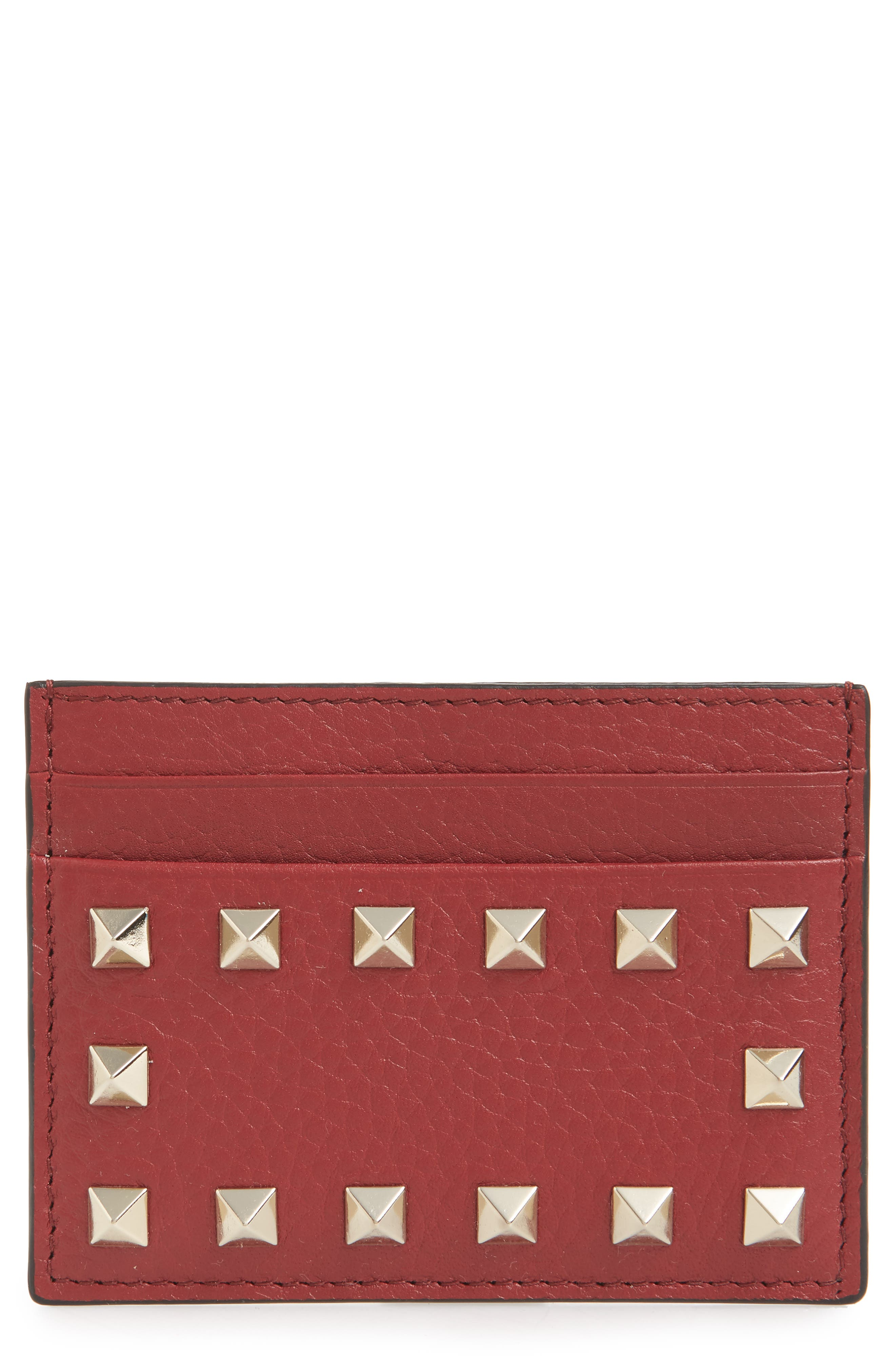 Rockstud Calfskin Leather Card Holder,                         Main,                         color, RUBINO