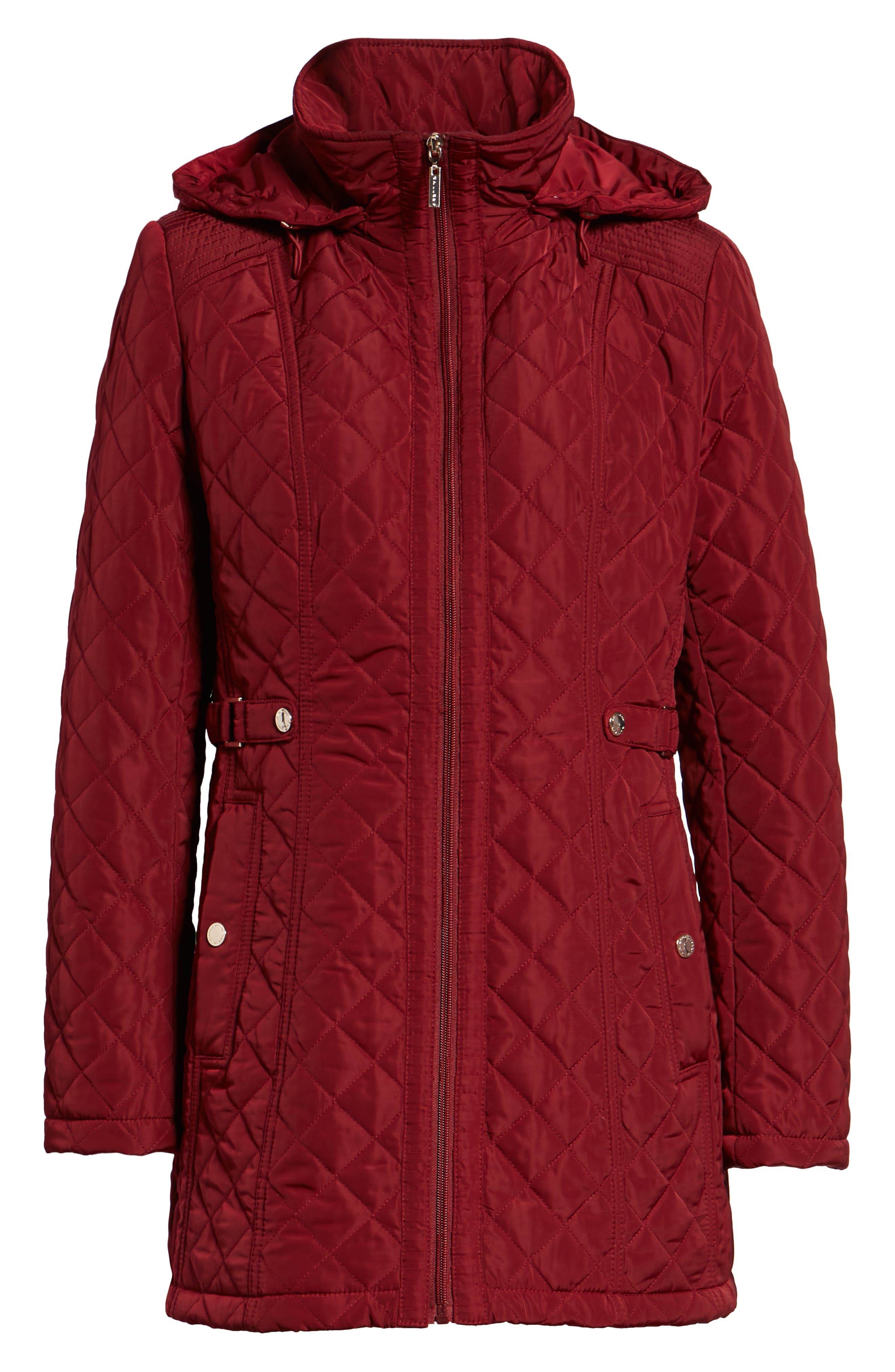 Quilted Hooded Jacket,                             Alternate thumbnail 6, color,                             MERLOT
