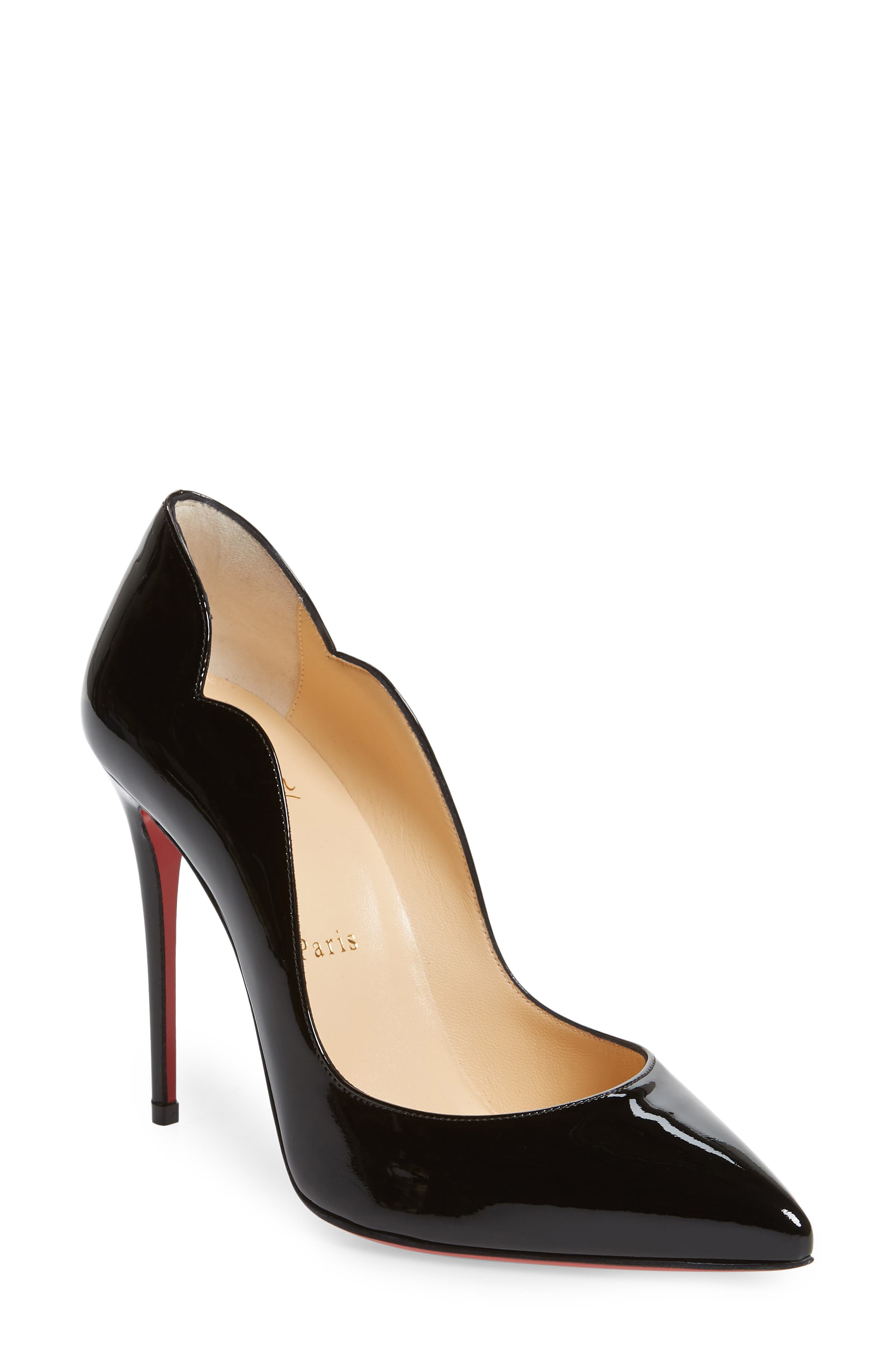 Hot Chick 100 Patent Red Sole Pumps in Black Patent